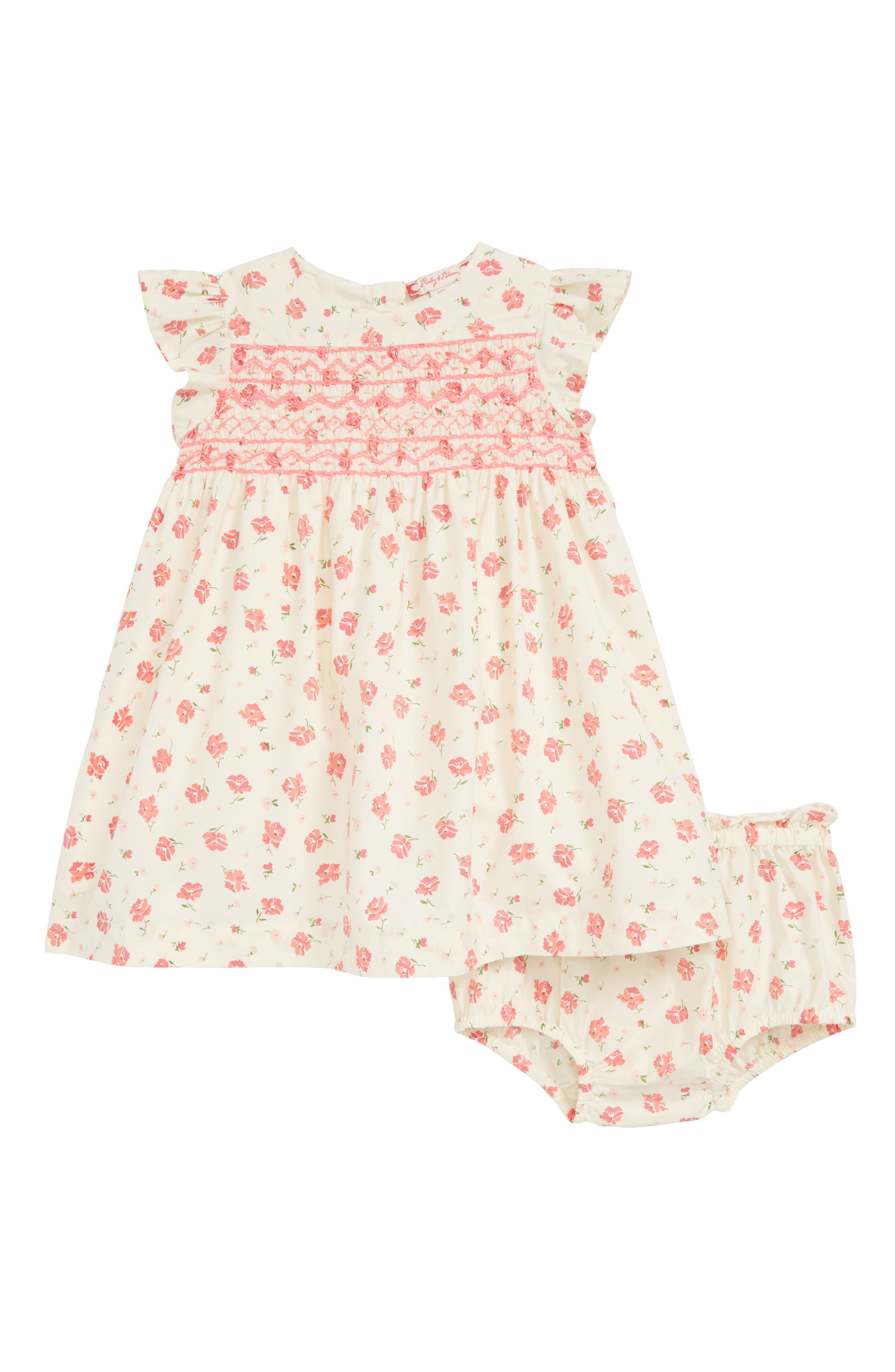 RUBY & BLOOM, Lily Print Smocked Dress, Main thumbnail 1, color, IVORY EGRET CASCADE FLORAL