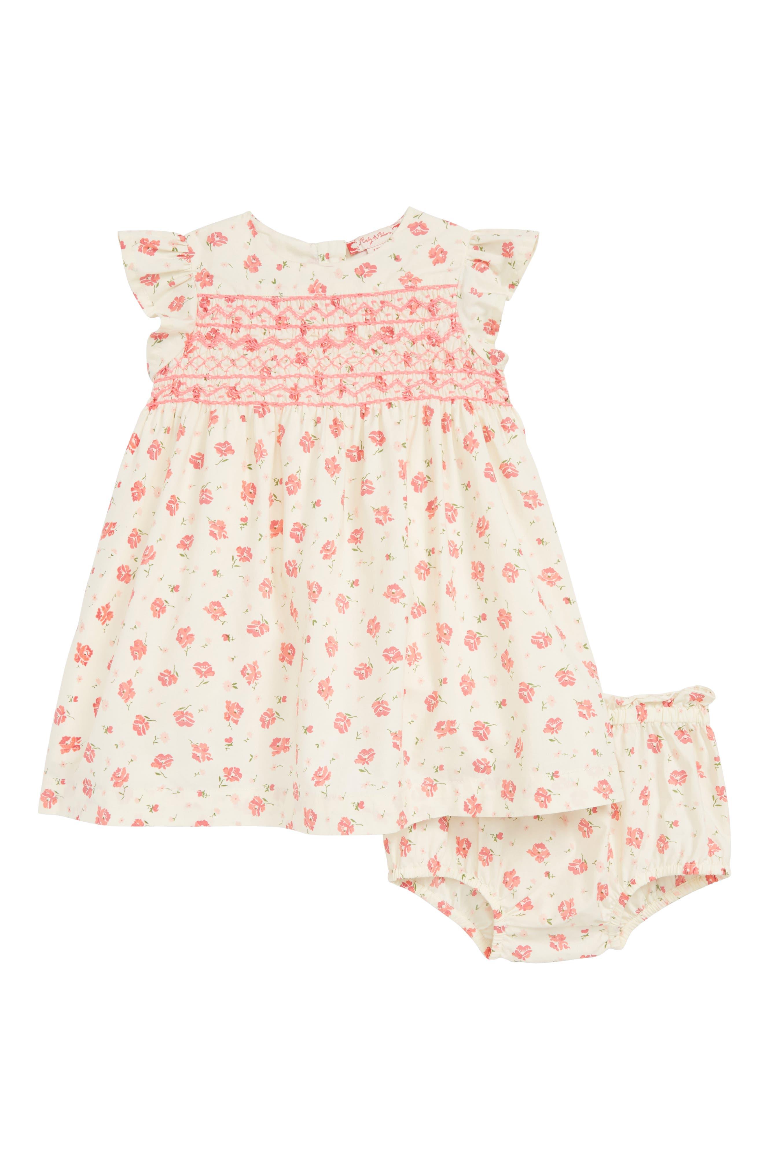 RUBY & BLOOM Lily Print Smocked Dress, Main, color, IVORY EGRET CASCADE FLORAL