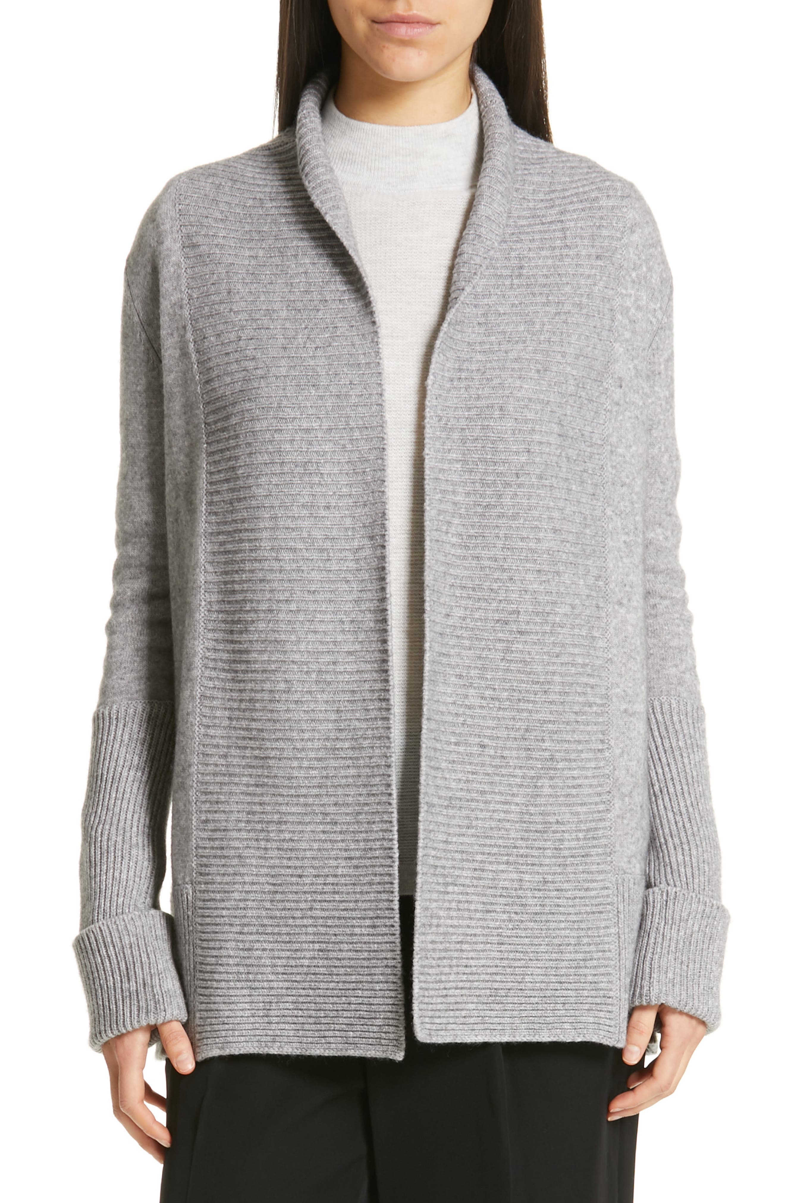 VINCE, Wool & Cashmere Cardigan, Main thumbnail 1, color, H STEEL