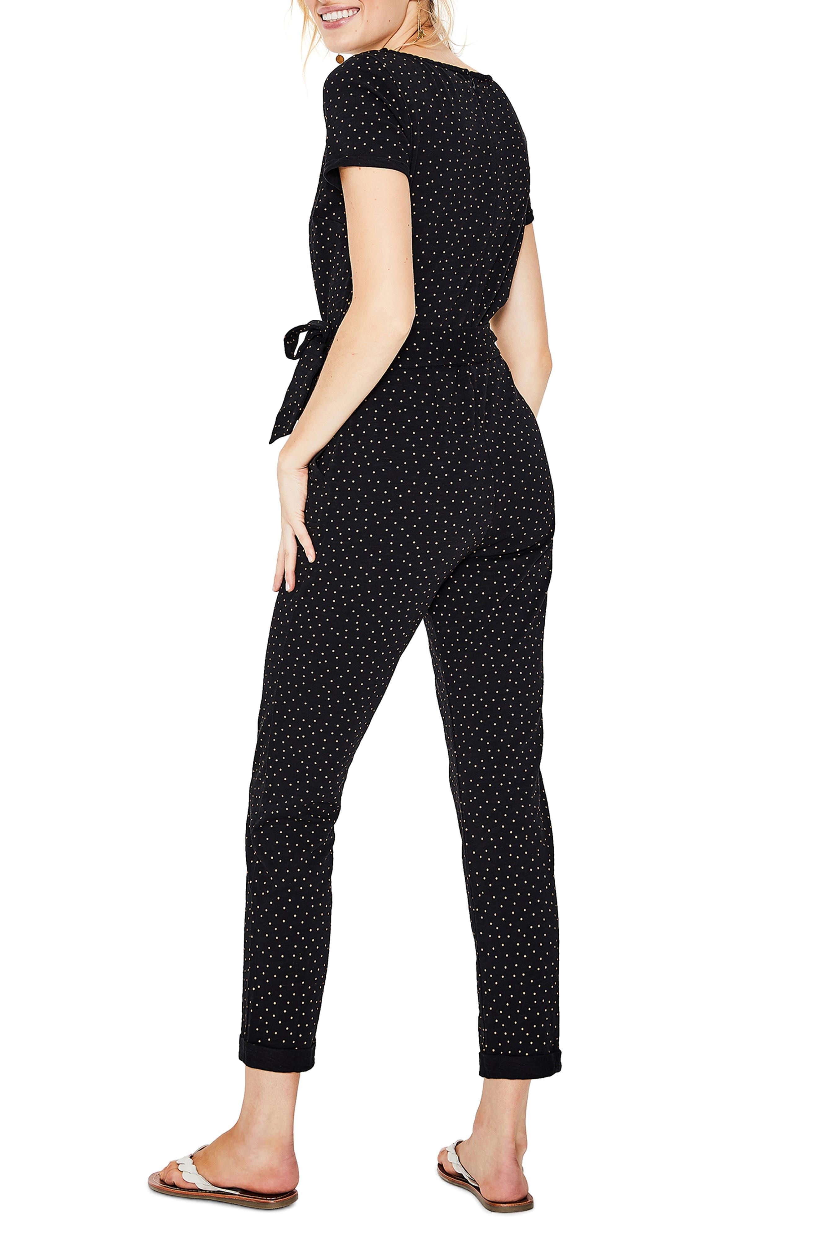 BODEN, Caitlin Jersey Jumpsuit, Alternate thumbnail 2, color, BLACK/ SOFT TRUFFLE SPOT