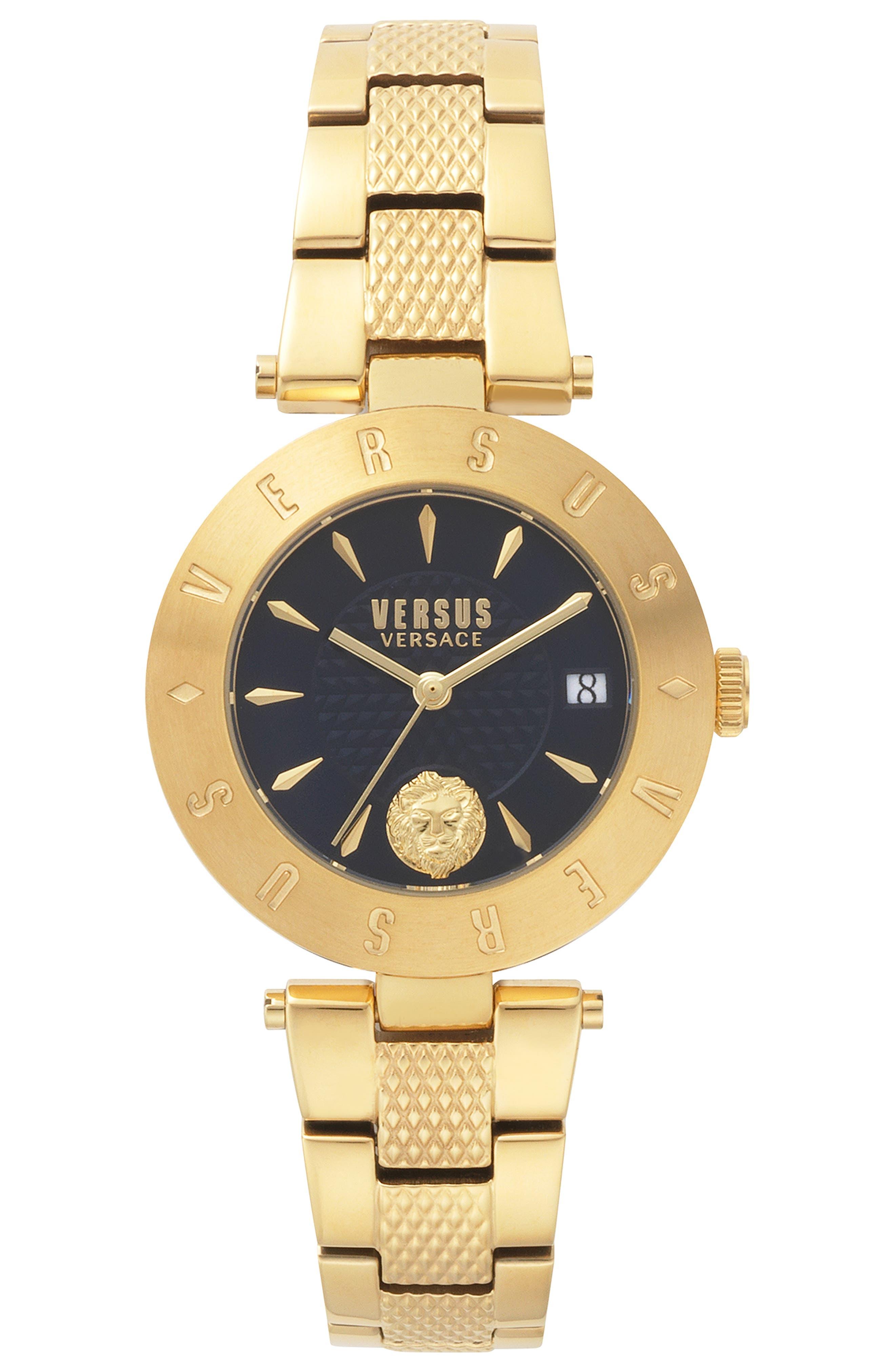 VERSUS VERSACE, Logo Bracelet Watch, 34mm, Main thumbnail 1, color, GOLD/ BLUE
