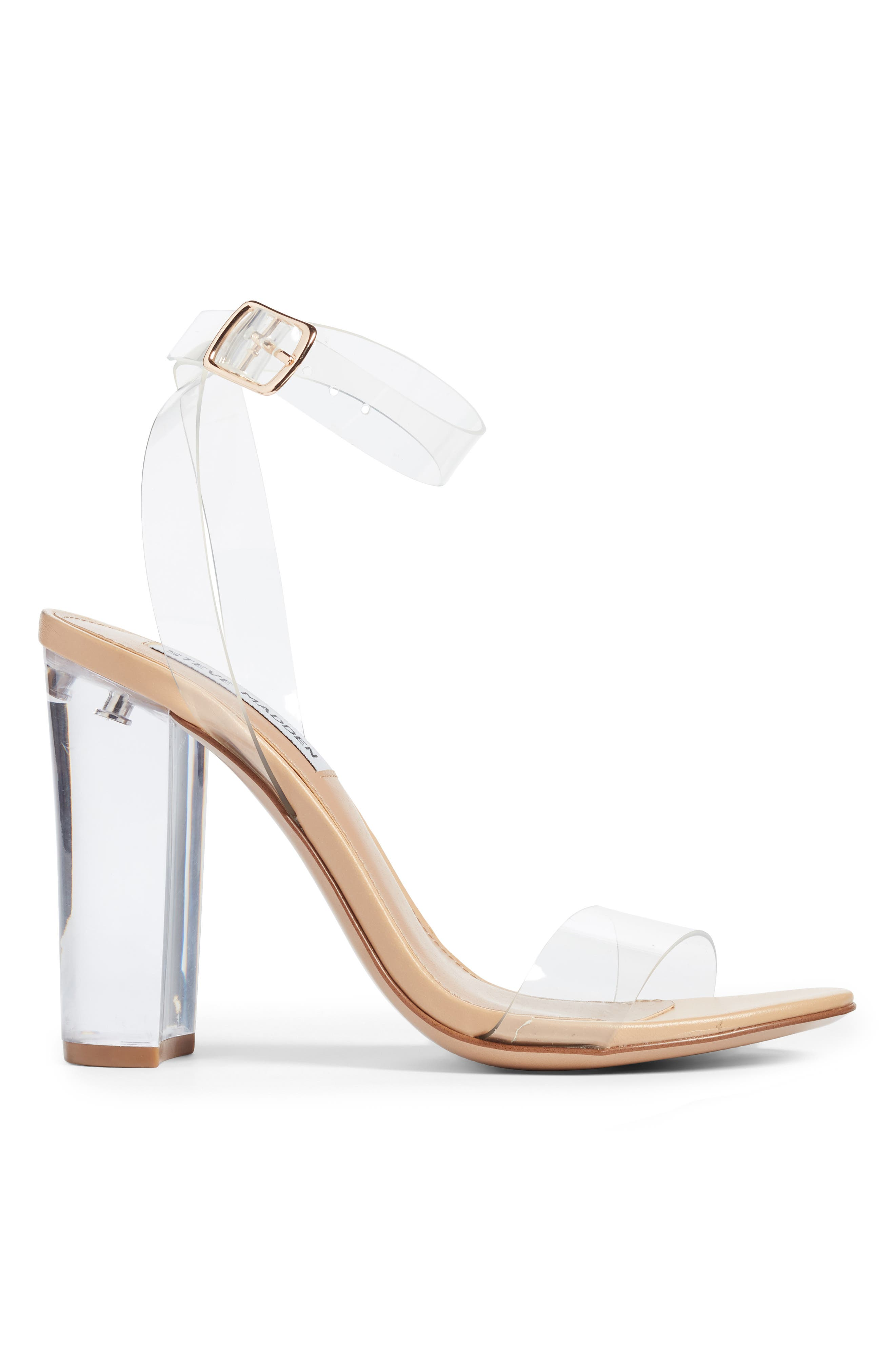 STEVE MADDEN, Camille Clear Sandal, Alternate thumbnail 3, color, CLEAR