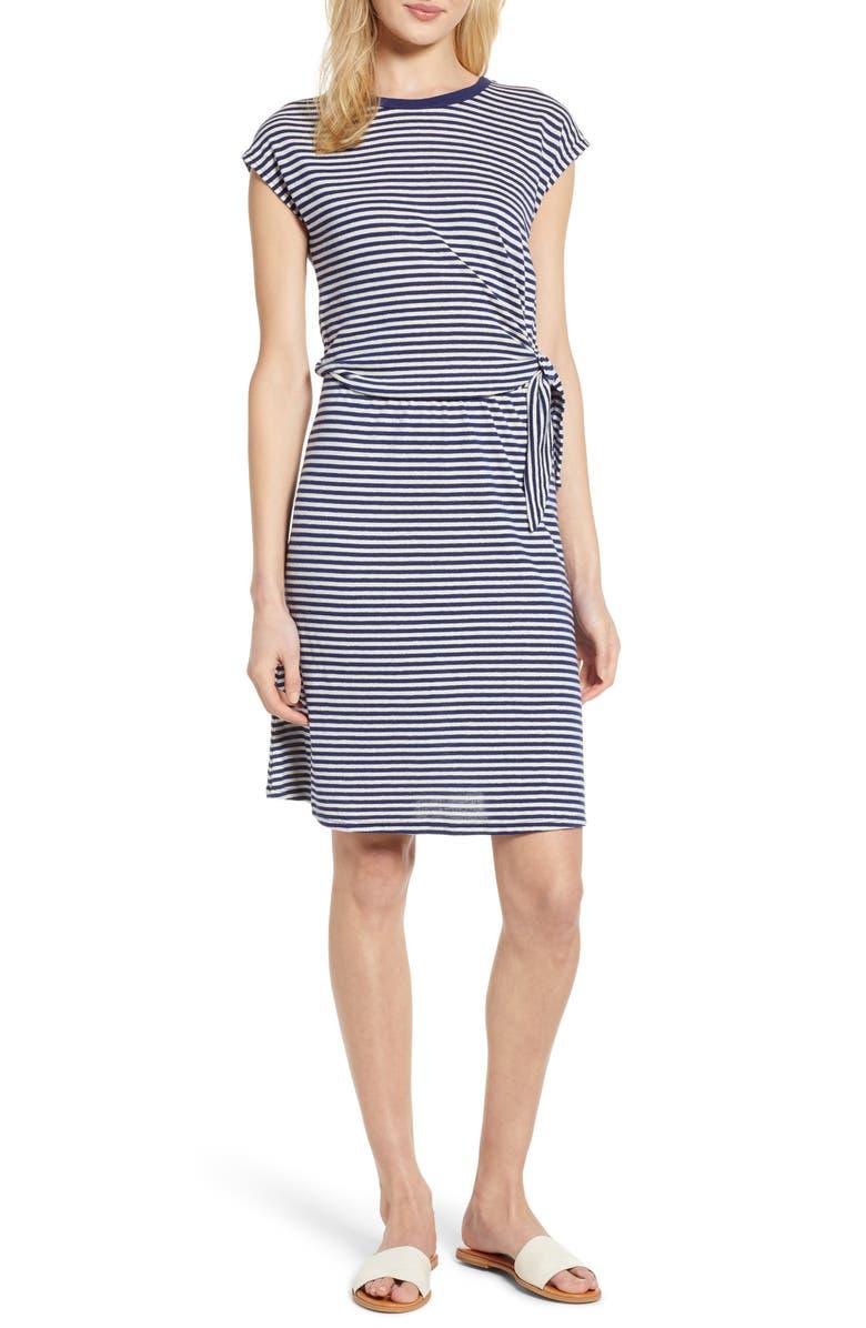 Velvet By Graham & Spencer Dresses STRIPE LINEN & COTTON BLEND TIE WAIST DRESS