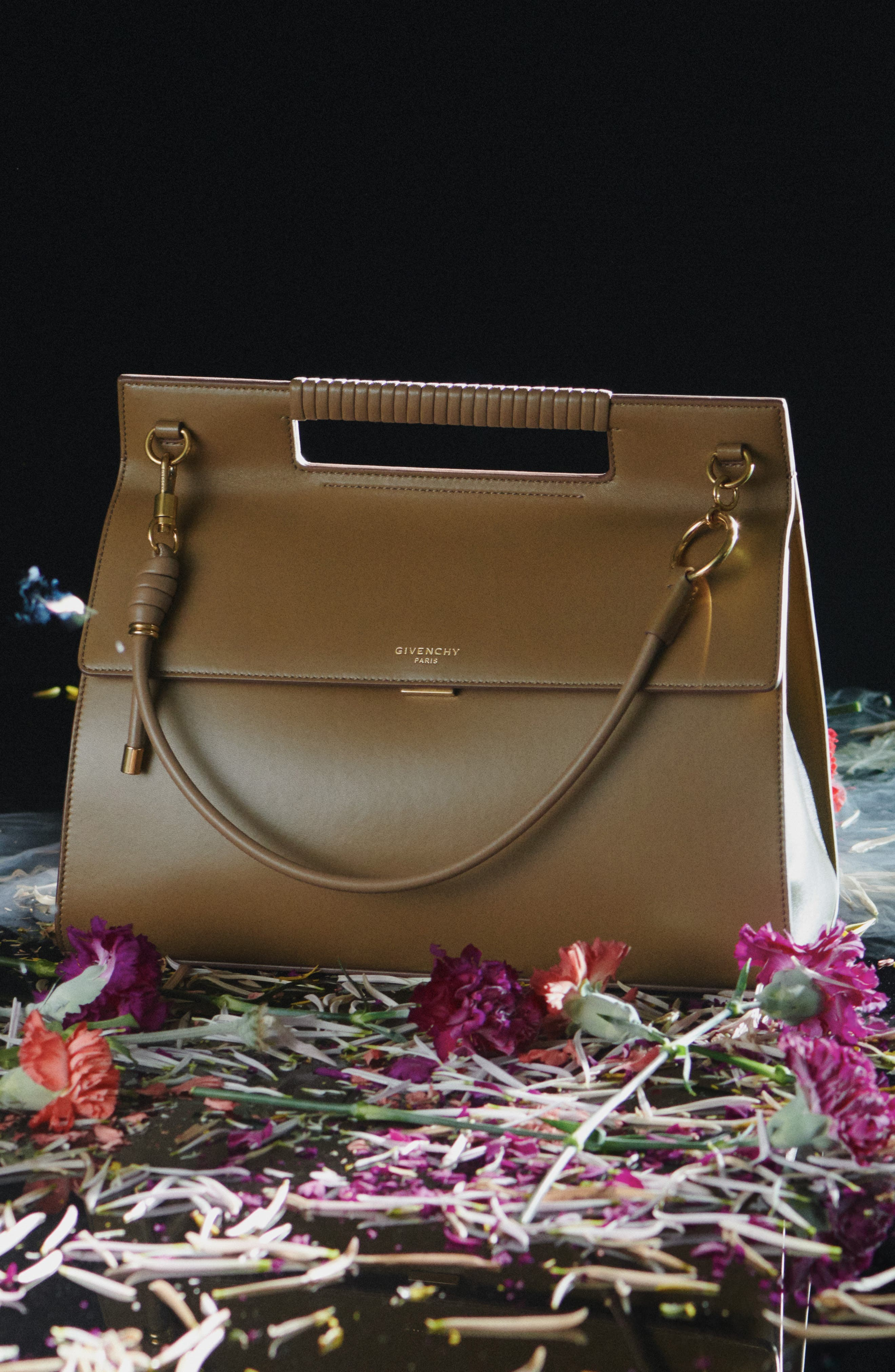 GIVENCHY Whip Large Leather Satchel, Main, color, TAUPE