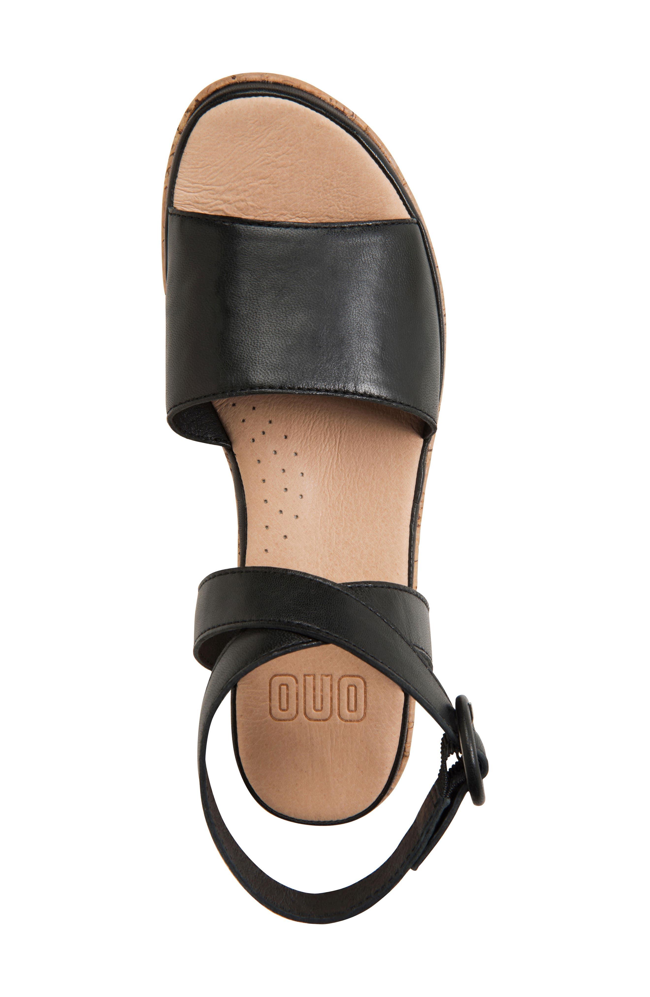 ONO, Dreamy Platform Wedge Sandal, Alternate thumbnail 5, color, BLACK LEATHER