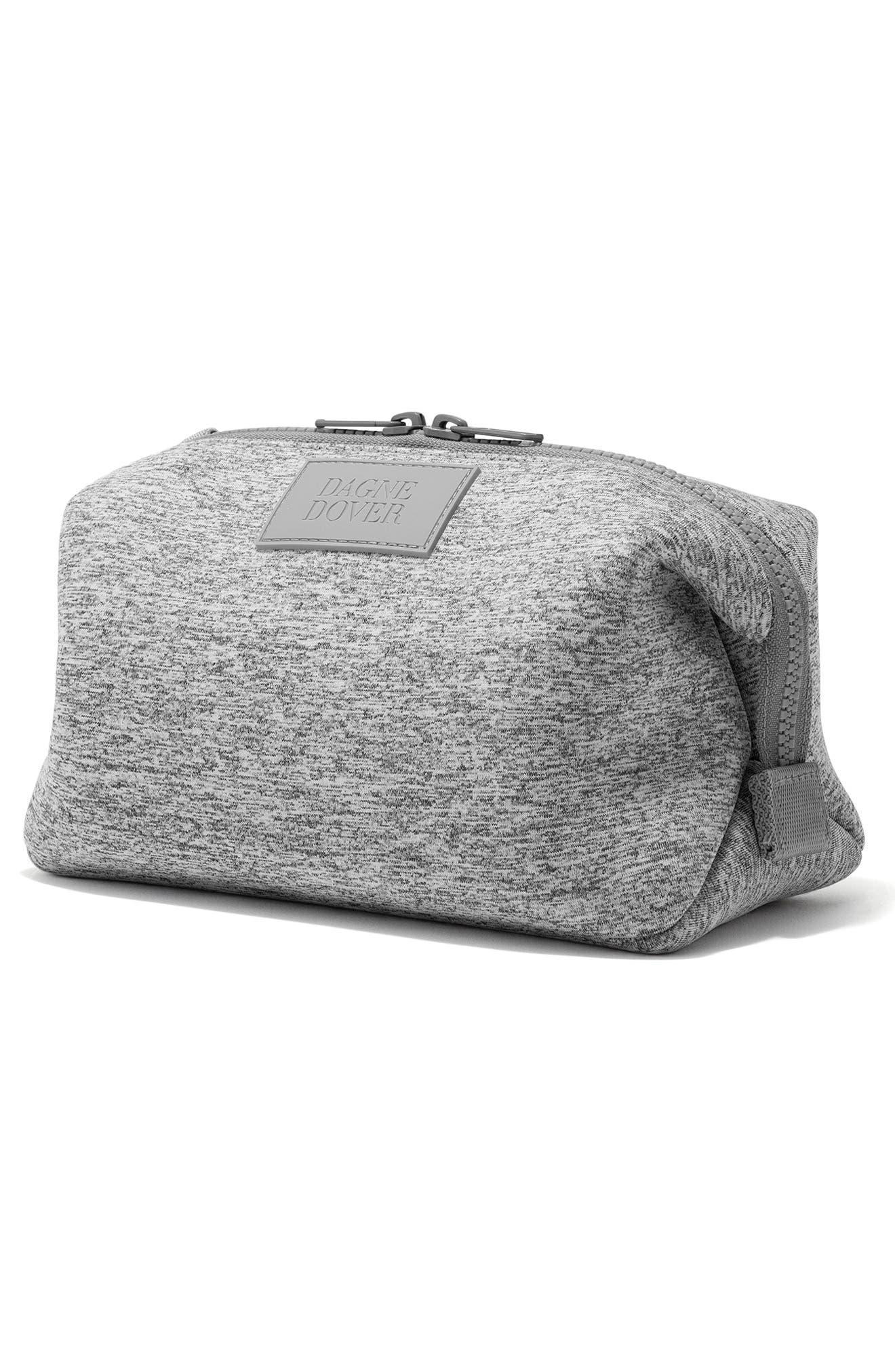 DAGNE DOVER, Large Hunter Neoprene Toiletry Bag, Alternate thumbnail 4, color, HEATHER GREY