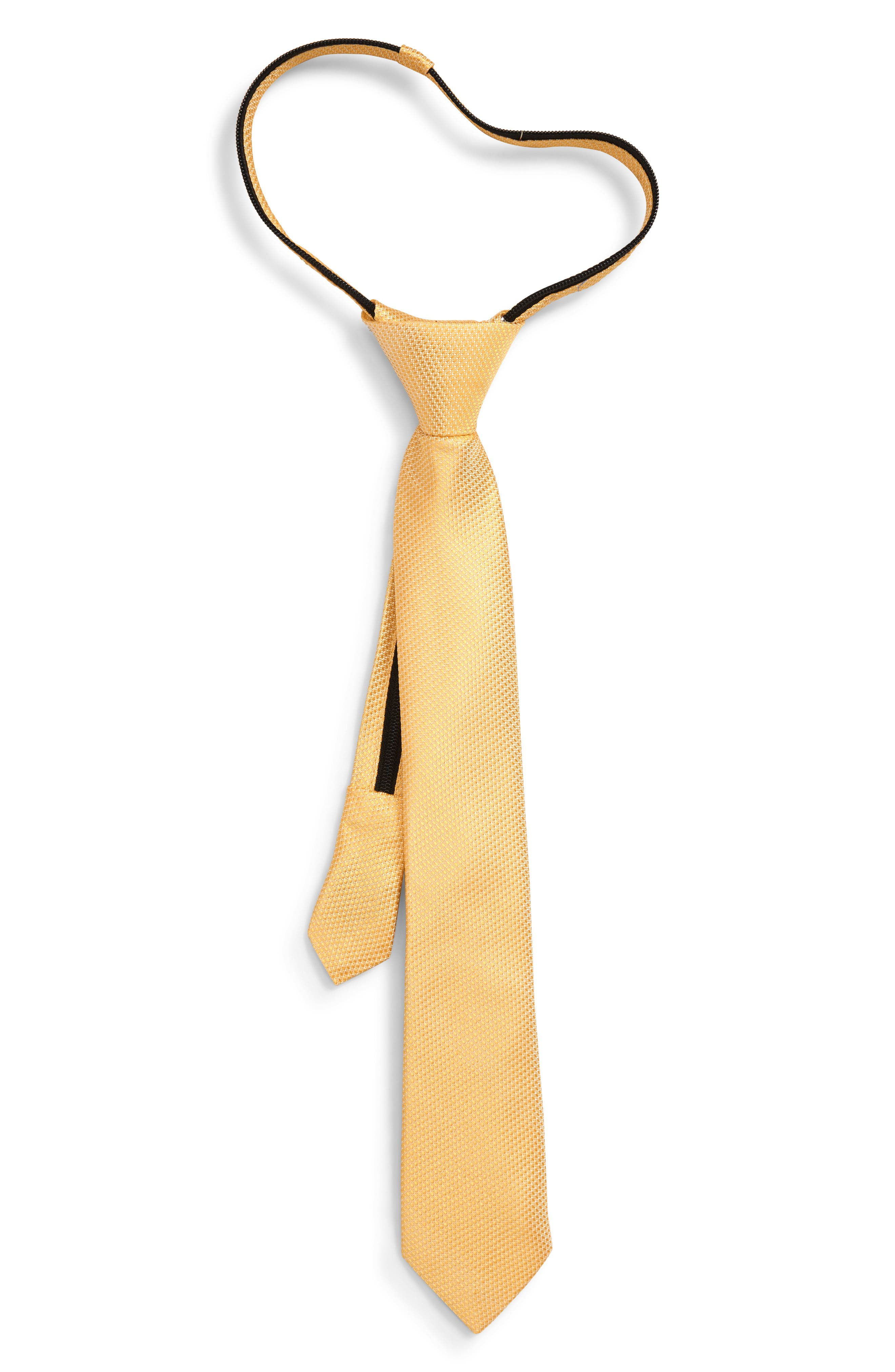 NORDSTROM, Andrew Solid Zip Silk Tie, Main thumbnail 1, color, YELLOW