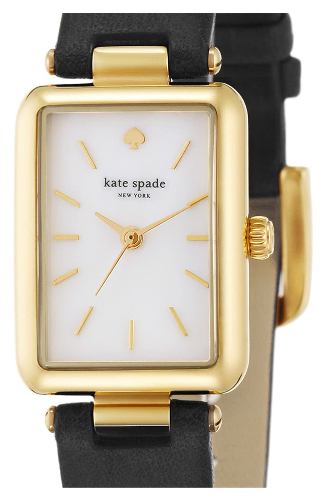 KATE SPADE NEW YORK, 'paley' rectangular leather strap watch, 21mm x 28mm, Alternate thumbnail 4, color, 001