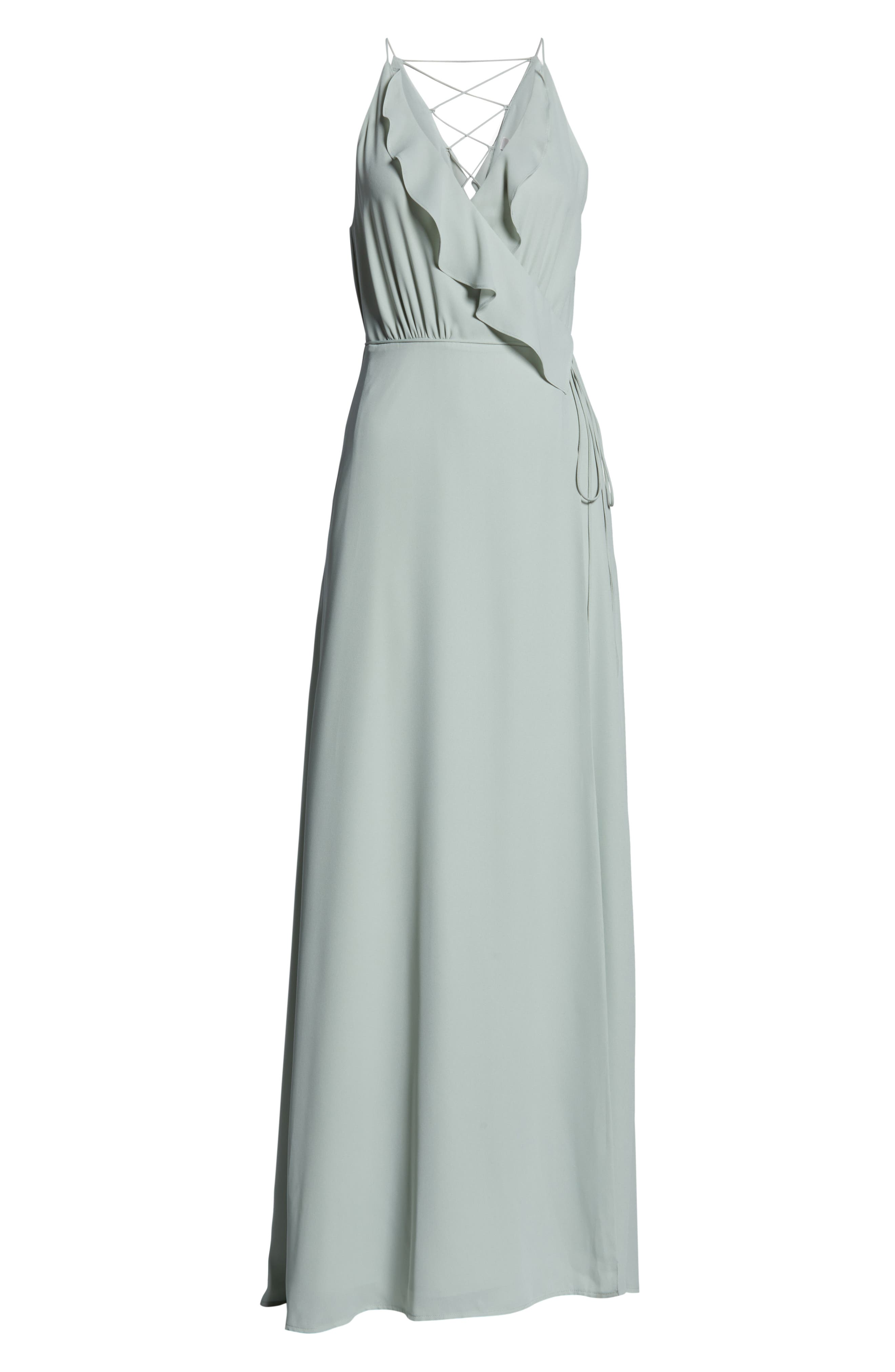 WAYF, Jamie Ruffle Wrap Gown, Alternate thumbnail 7, color, SAGE