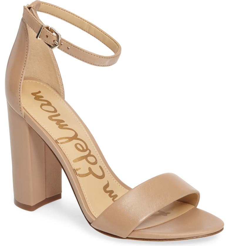 999926863f2 Sam Edelman Yaro Ankle Strap Block Heel Sandals In Classic Nude Nappa  Leather