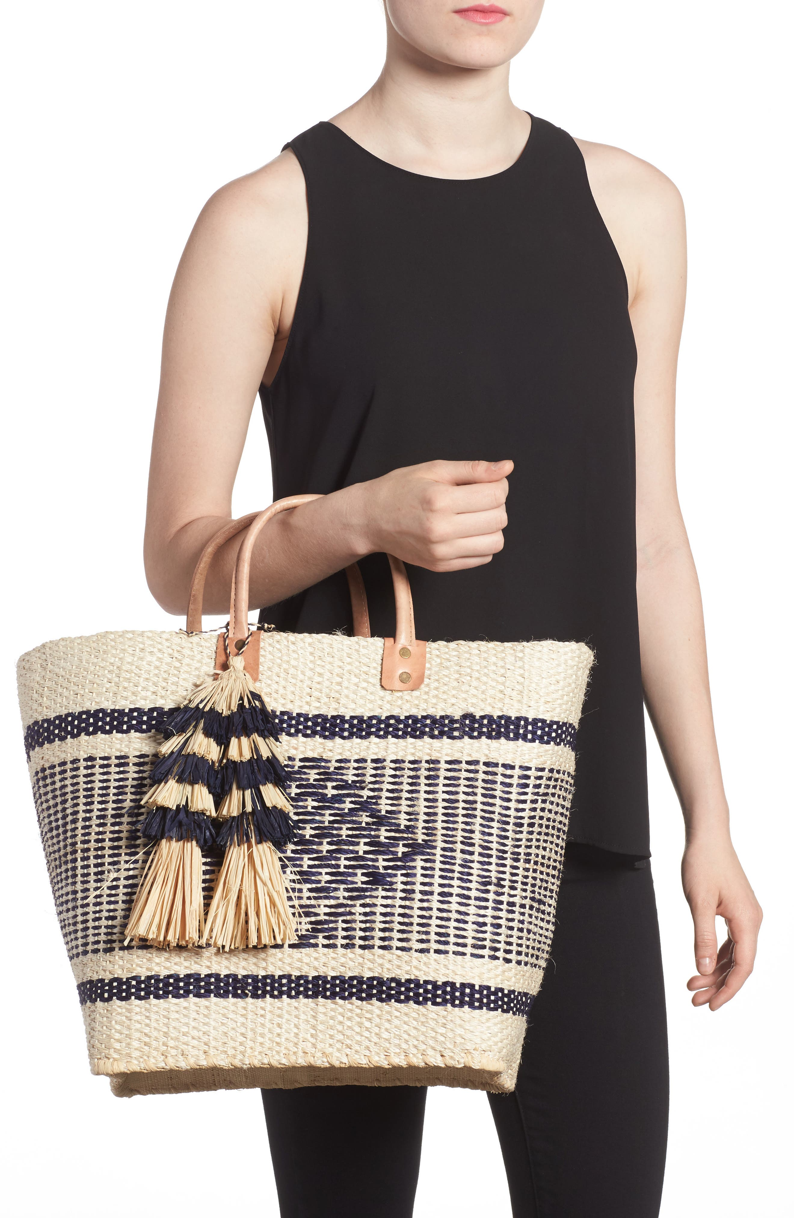 MAR Y SOL, 'Ibiza' Woven Tote with Tassel Charms, Alternate thumbnail 2, color, 200