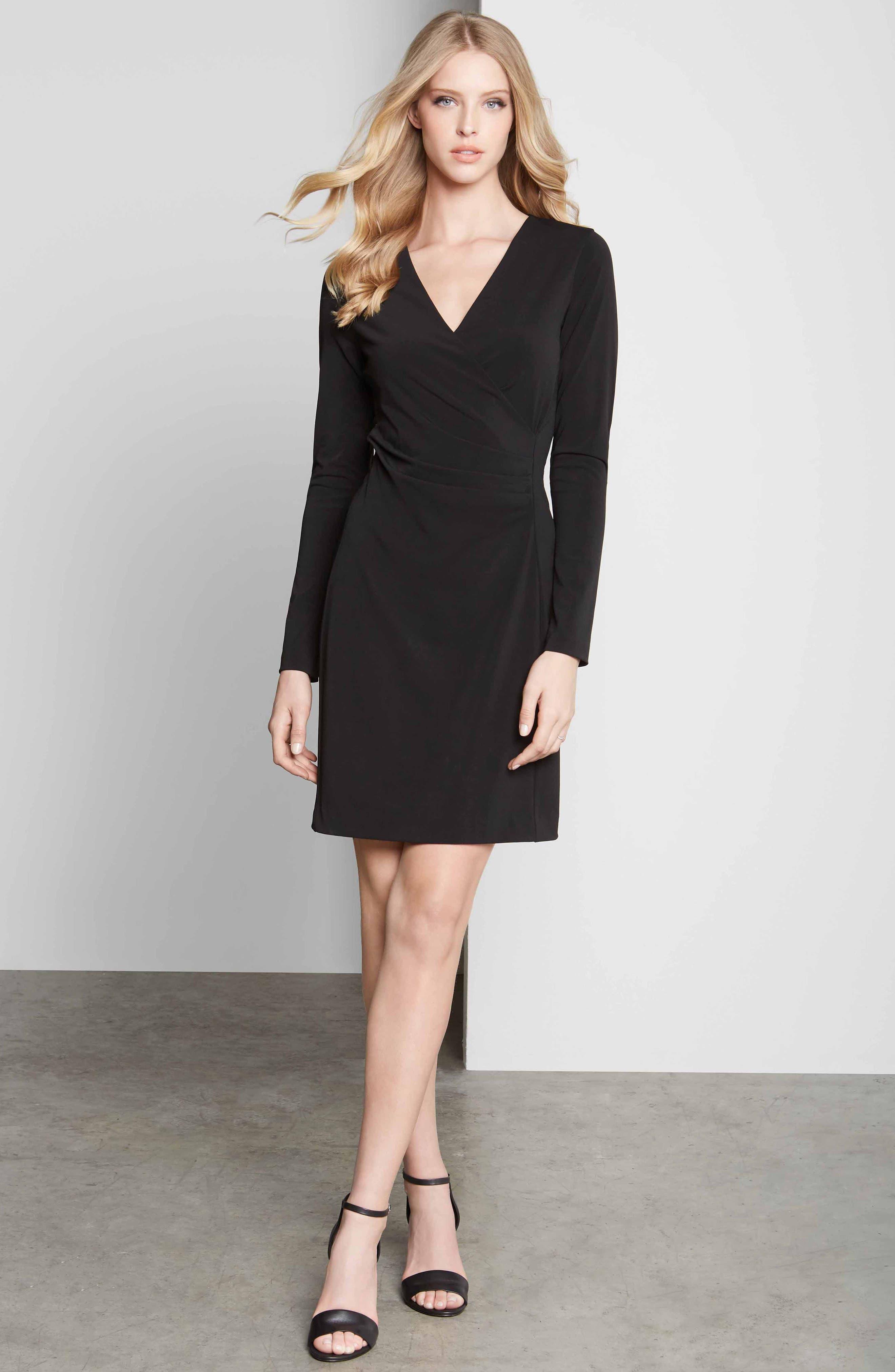 KAREN KANE, Faux Wrap Dress, Alternate thumbnail 4, color, BLACK
