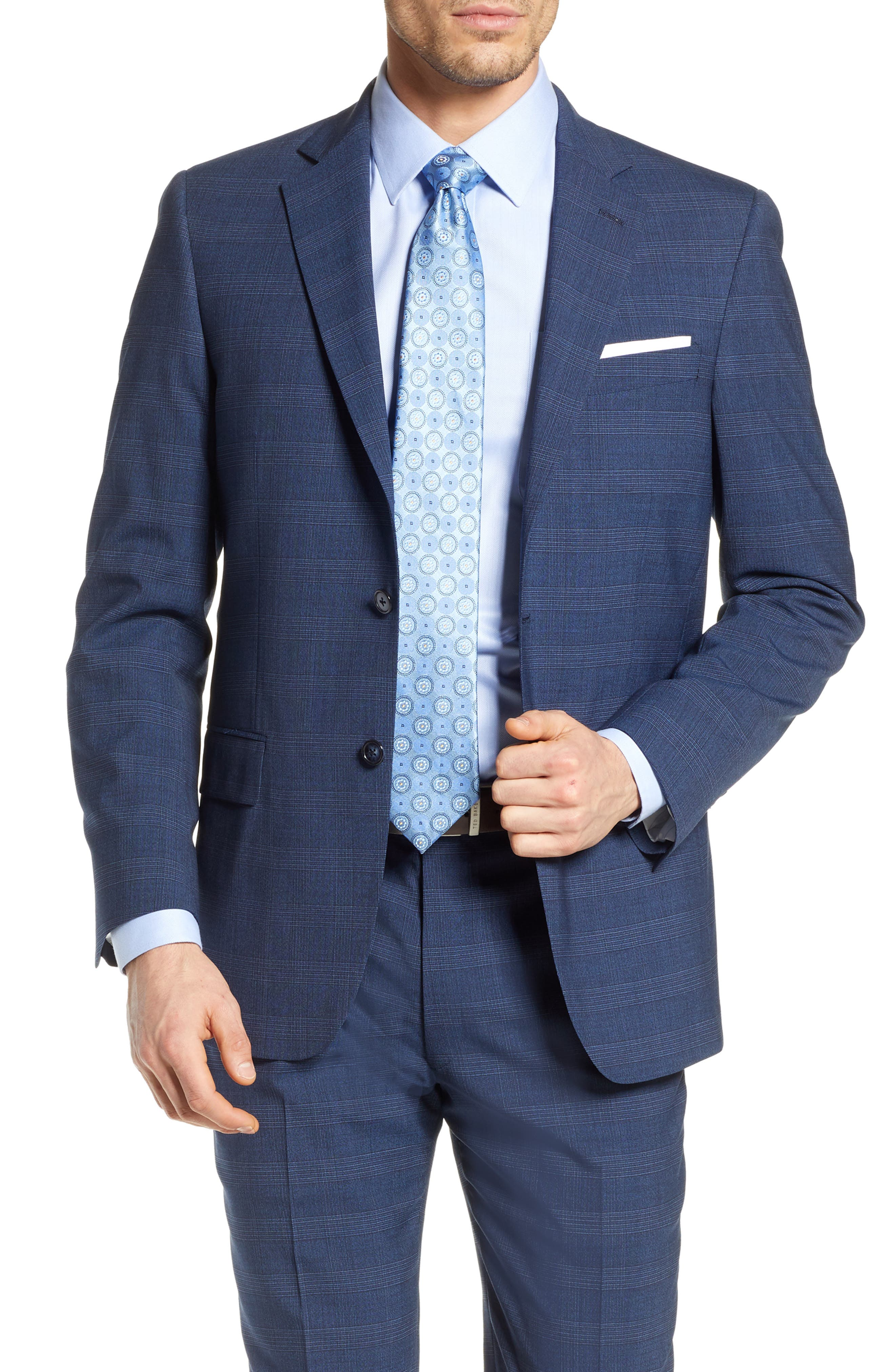 HART SCHAFFNER MARX, New York Classic Fit Plaid Wool Blend Suit, Alternate thumbnail 5, color, 401
