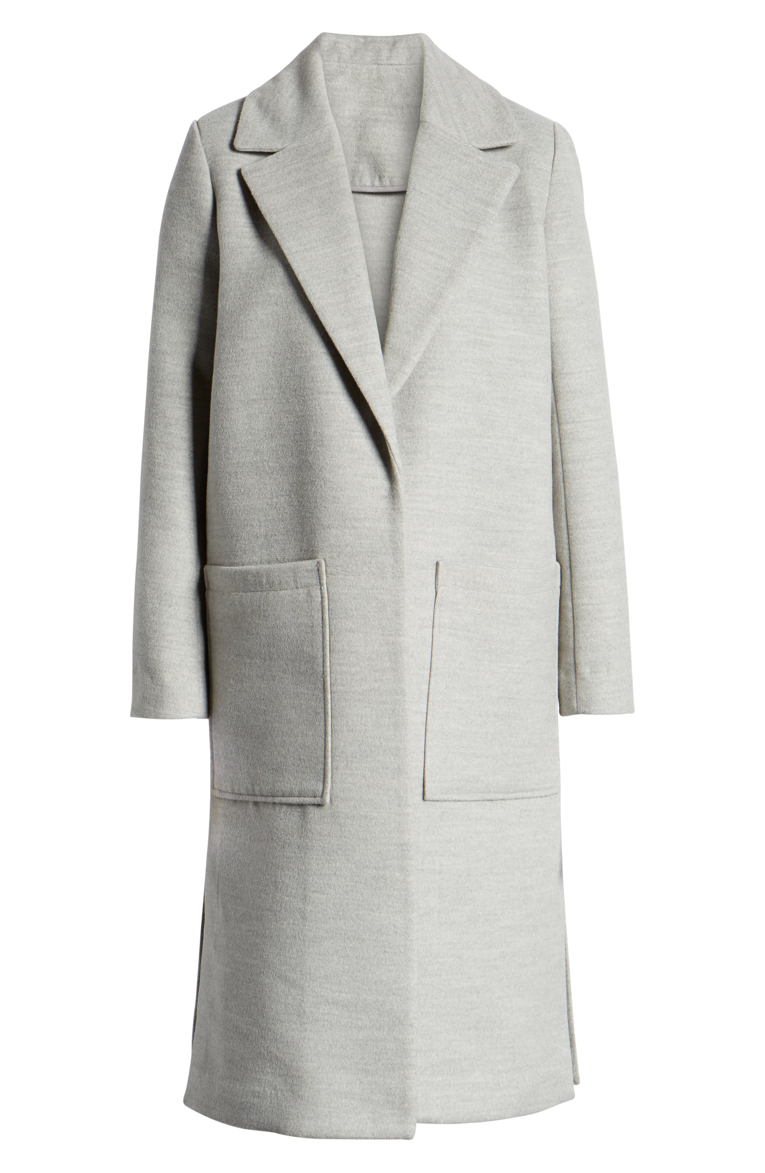 SOMETHING NAVY, Patch Pocket Coat, Alternate thumbnail 6, color, GREY HEATHER
