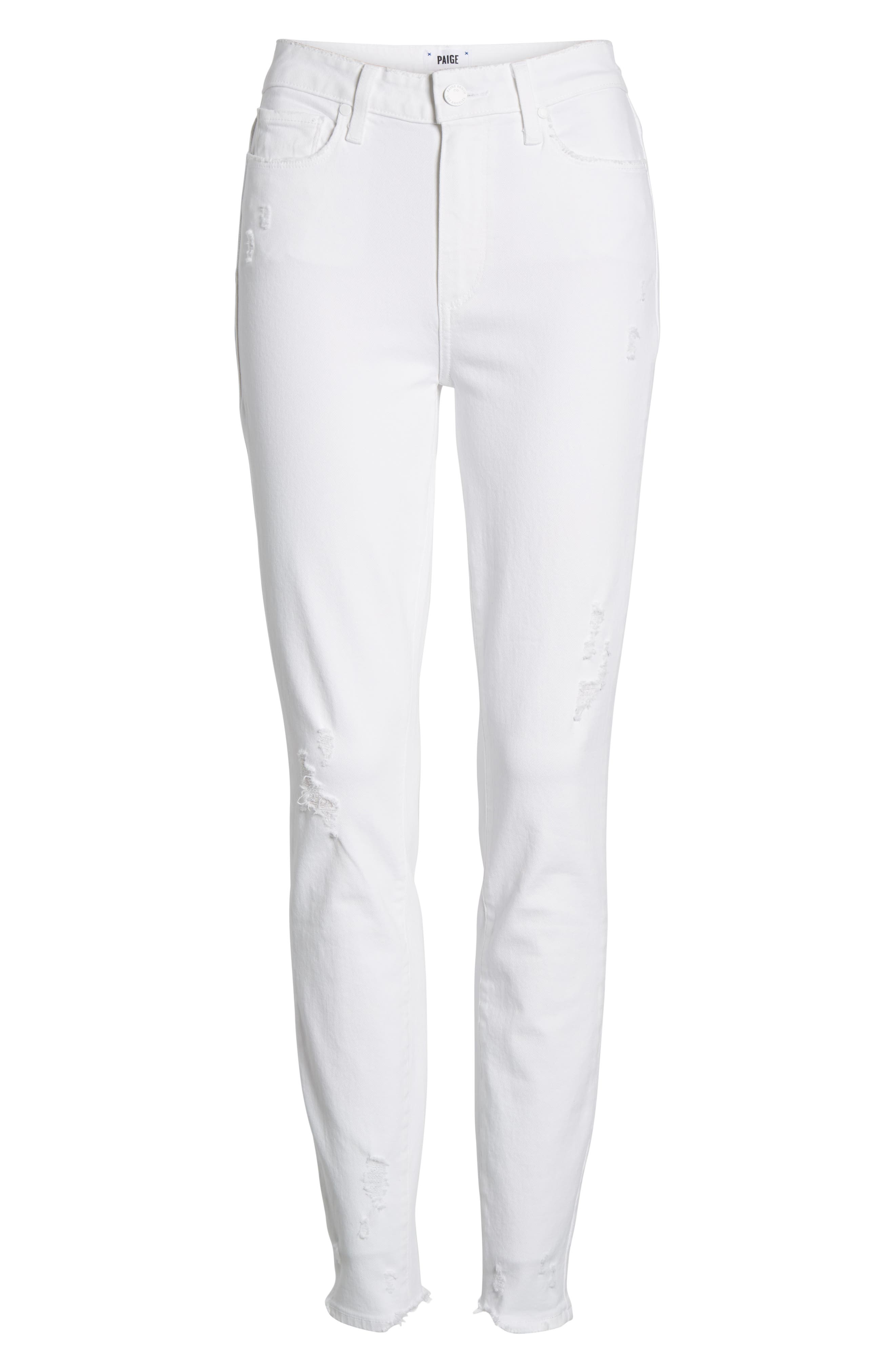 PAIGE, Hoxton High Waist Ankle Skinny Jeans, Alternate thumbnail 7, color, 100
