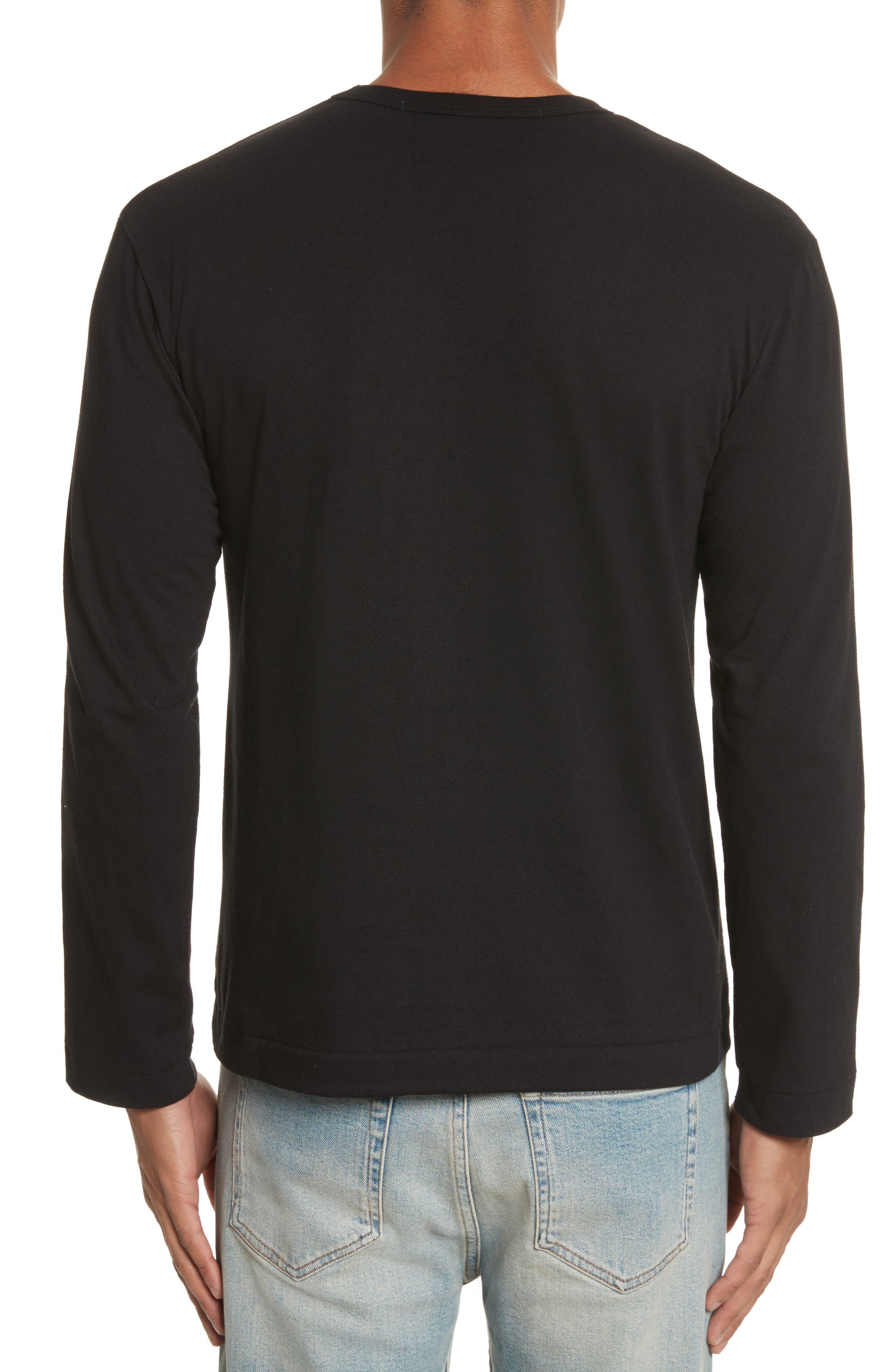 COMME DES GARÇONS PLAY, Long Sleeve T-Shirt, Alternate thumbnail 2, color, 001