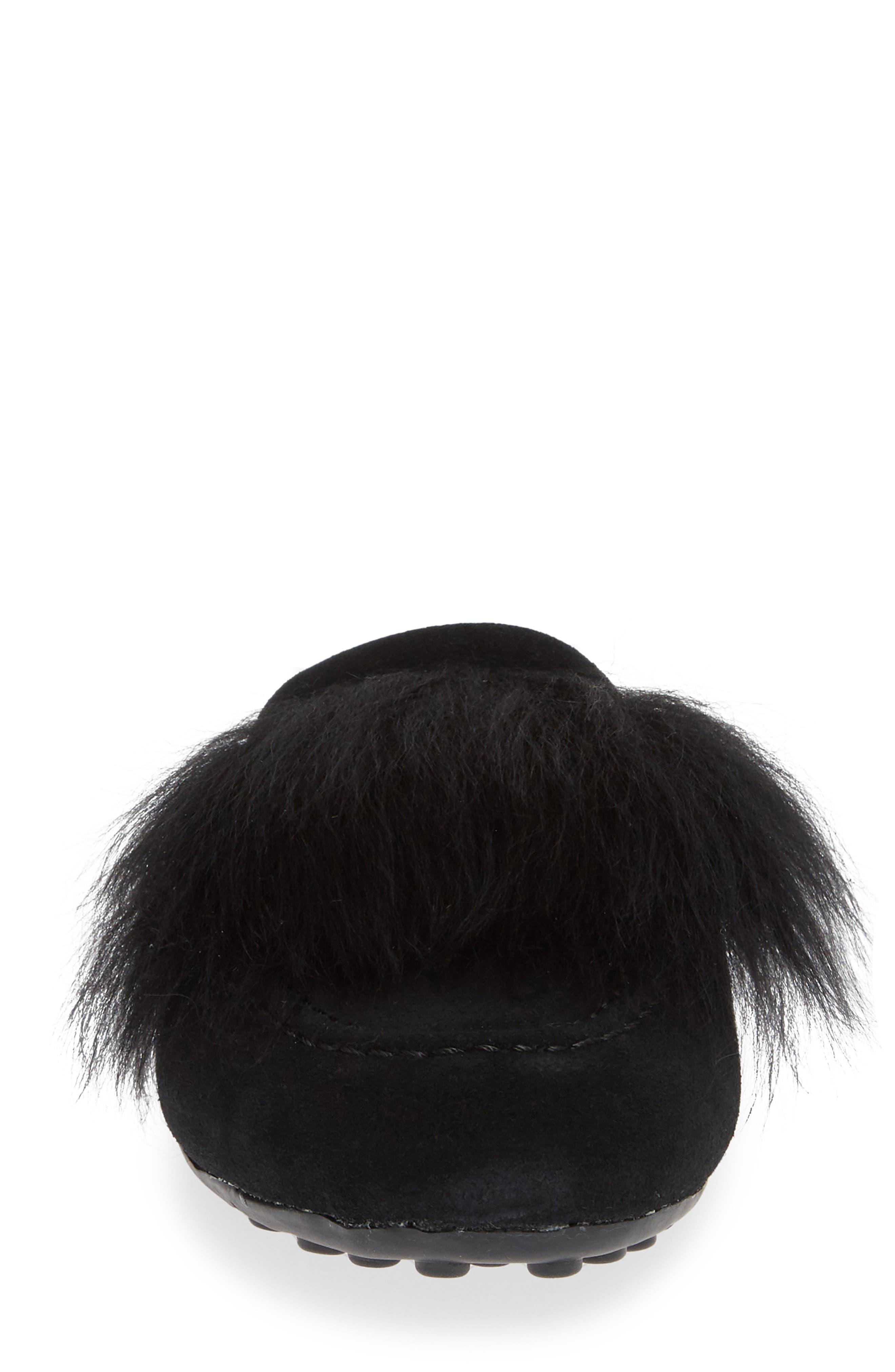 UGG<SUP>®</SUP>, Shaine Wisp Genuine Shearling Slipper, Alternate thumbnail 4, color, BLACK