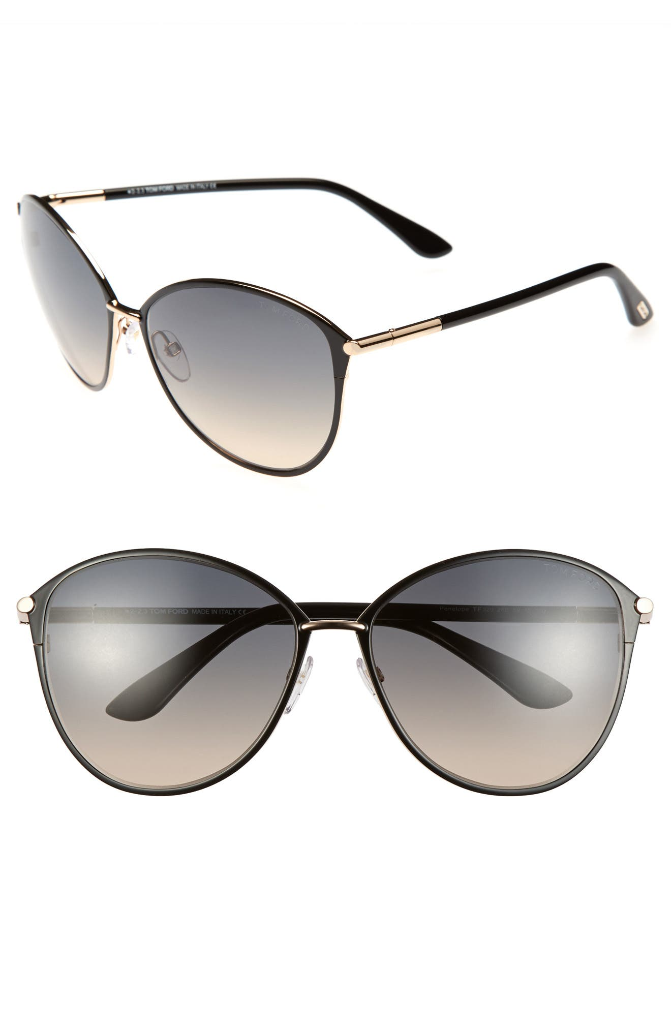 TOM FORD, Penelope 59mm Gradient Cat Eye Sunglasses, Main thumbnail 1, color, SHINY ROSE GOLD/ BLACK