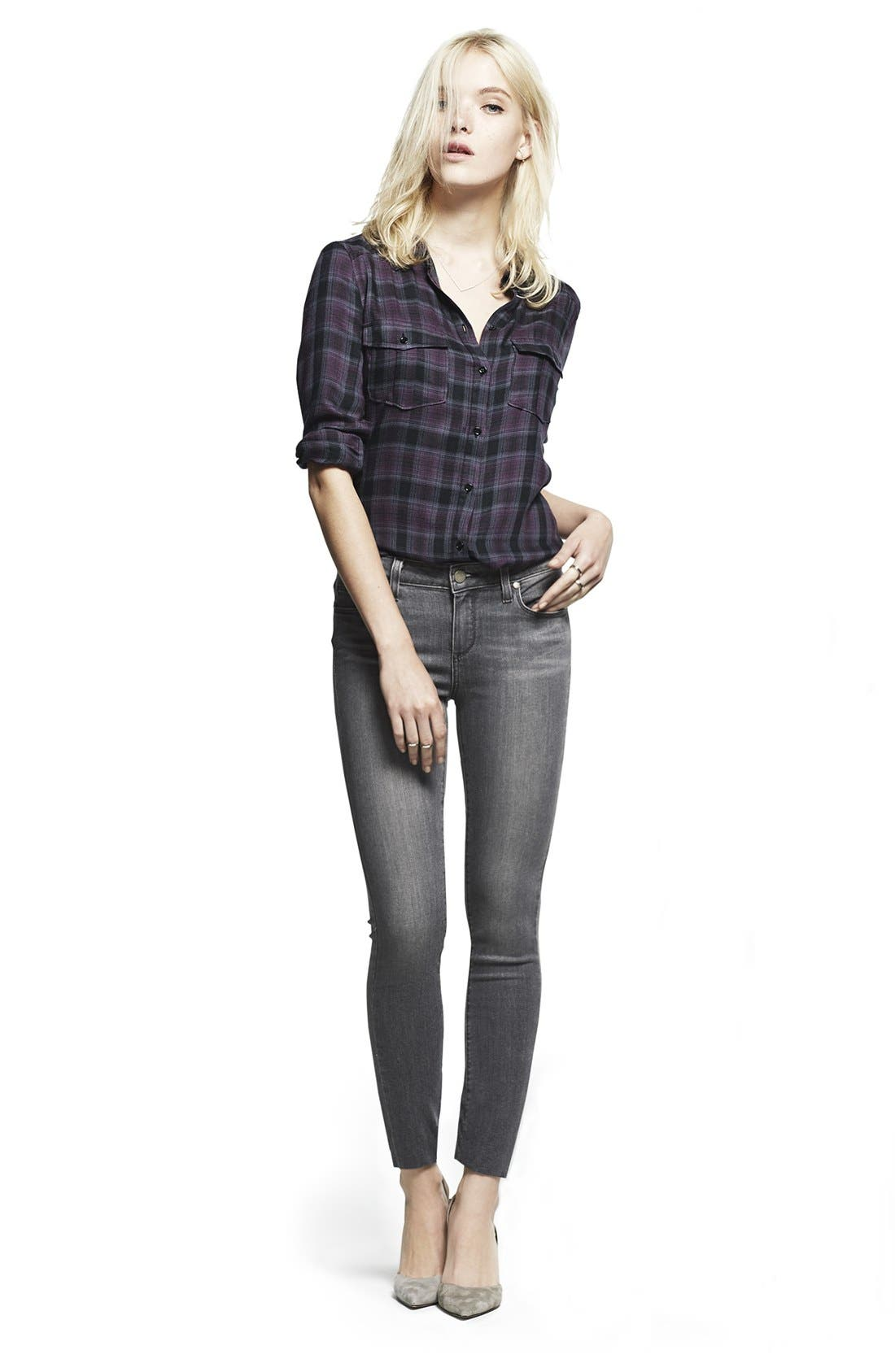 PAIGE, Transcend - Verdugo Ultra Skinny Jeans, Alternate thumbnail 5, color, SILVIE