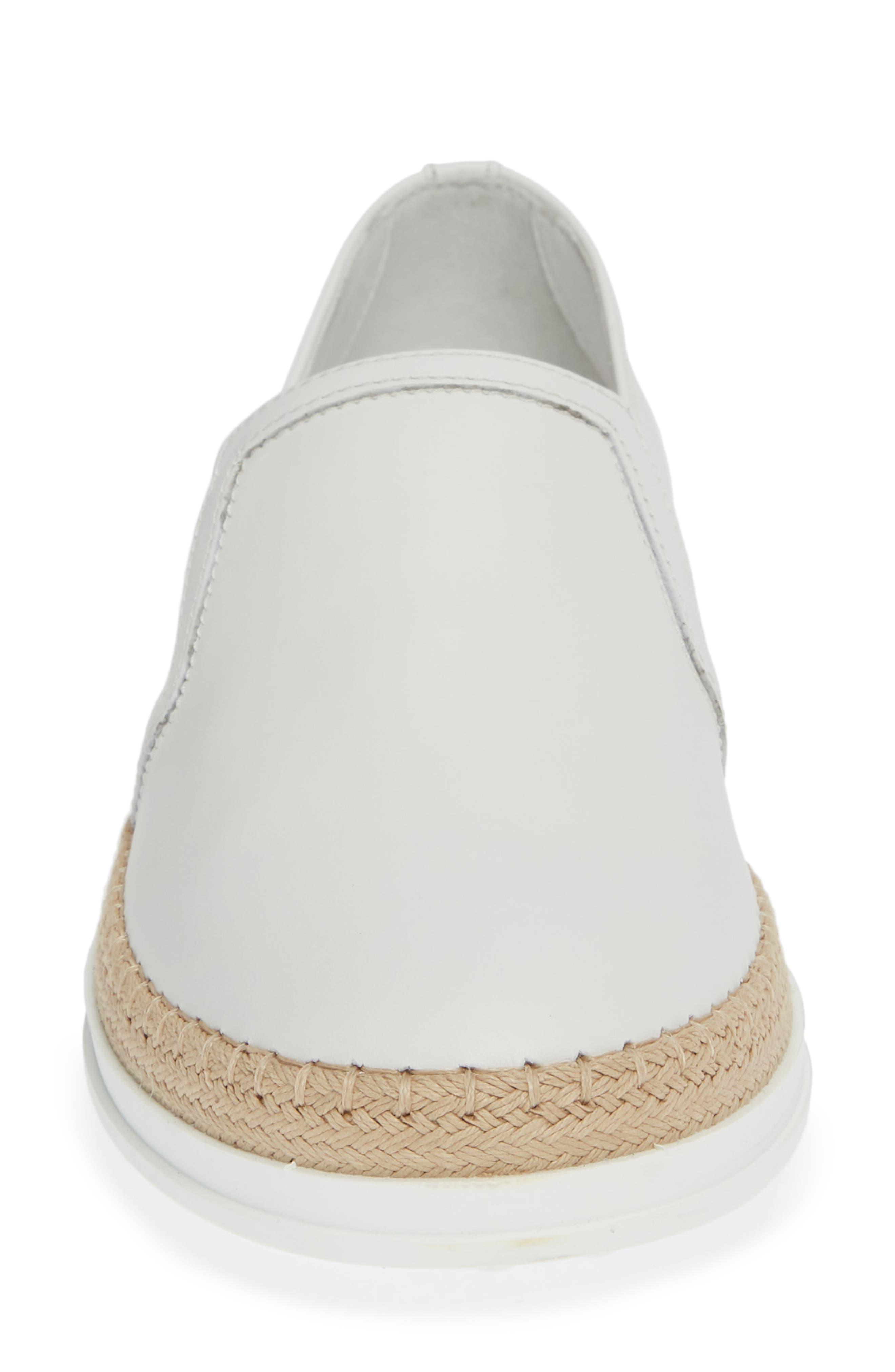 TOD'S, Espadrille Slip-On Sneaker, Alternate thumbnail 4, color, WHITE LEATHER