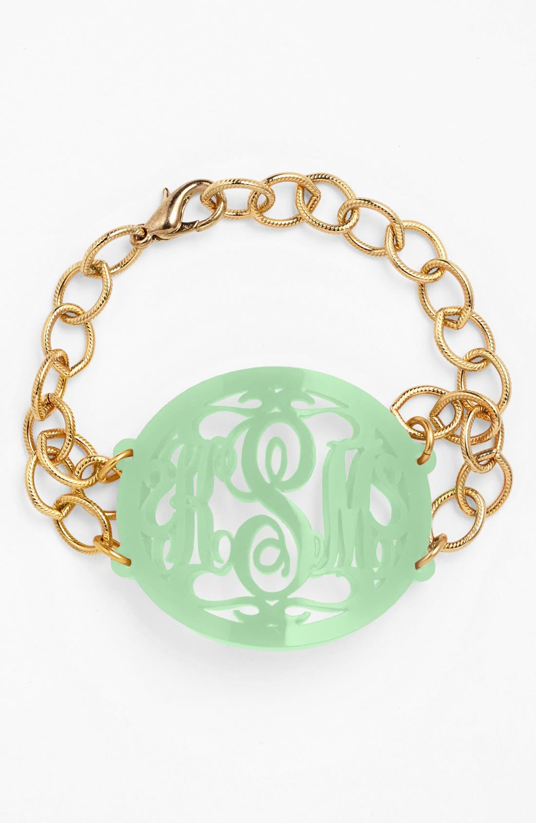 MOON AND LOLA, 'Annabel' Large Oval Personalized Monogram Bracelet, Main thumbnail 1, color, MINT/ GOLD