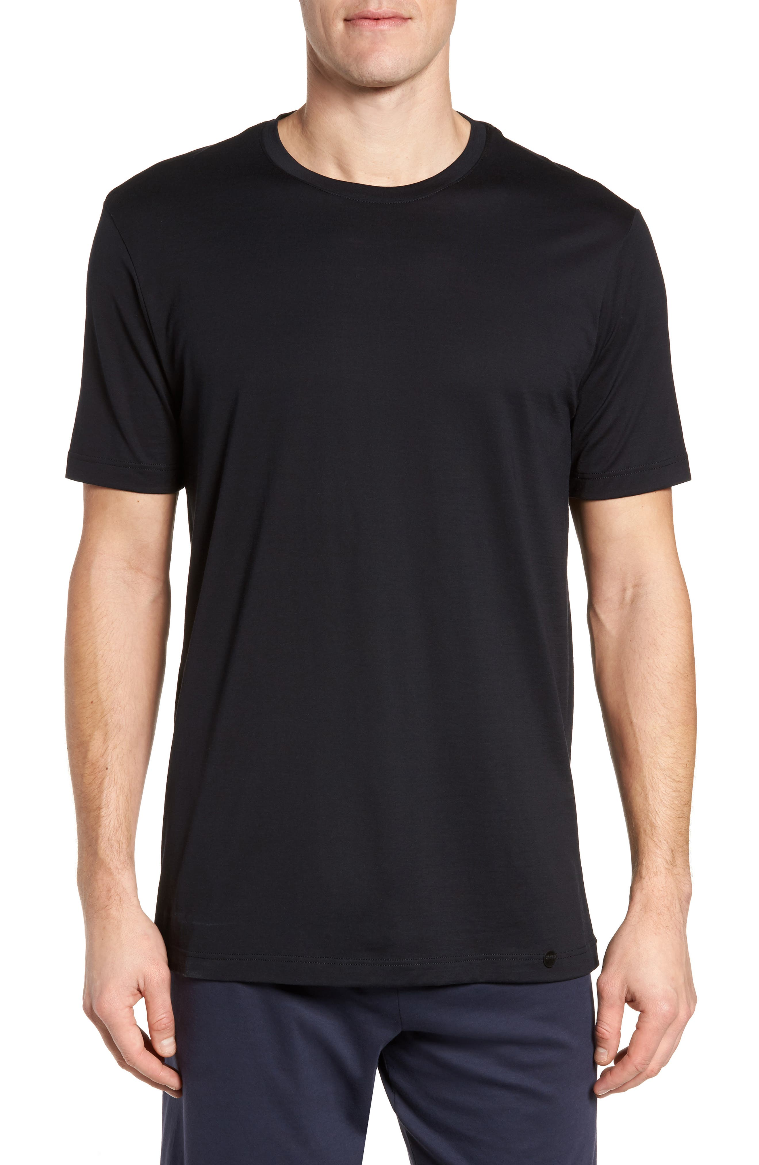 HANRO Night & Day Crewneck T-Shirt, Main, color, BLACK
