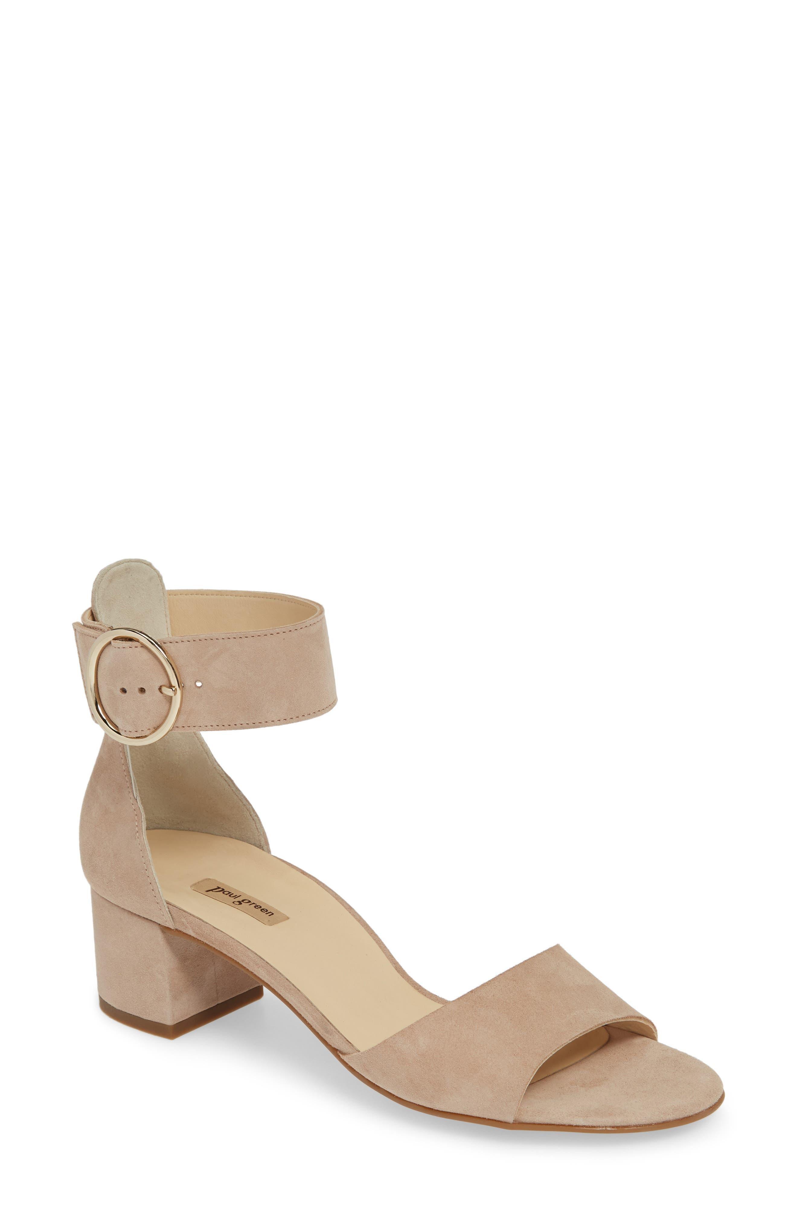 PAUL GREEN, Velma Ankle Strap Sandal, Main thumbnail 1, color, SAHARA SUEDE