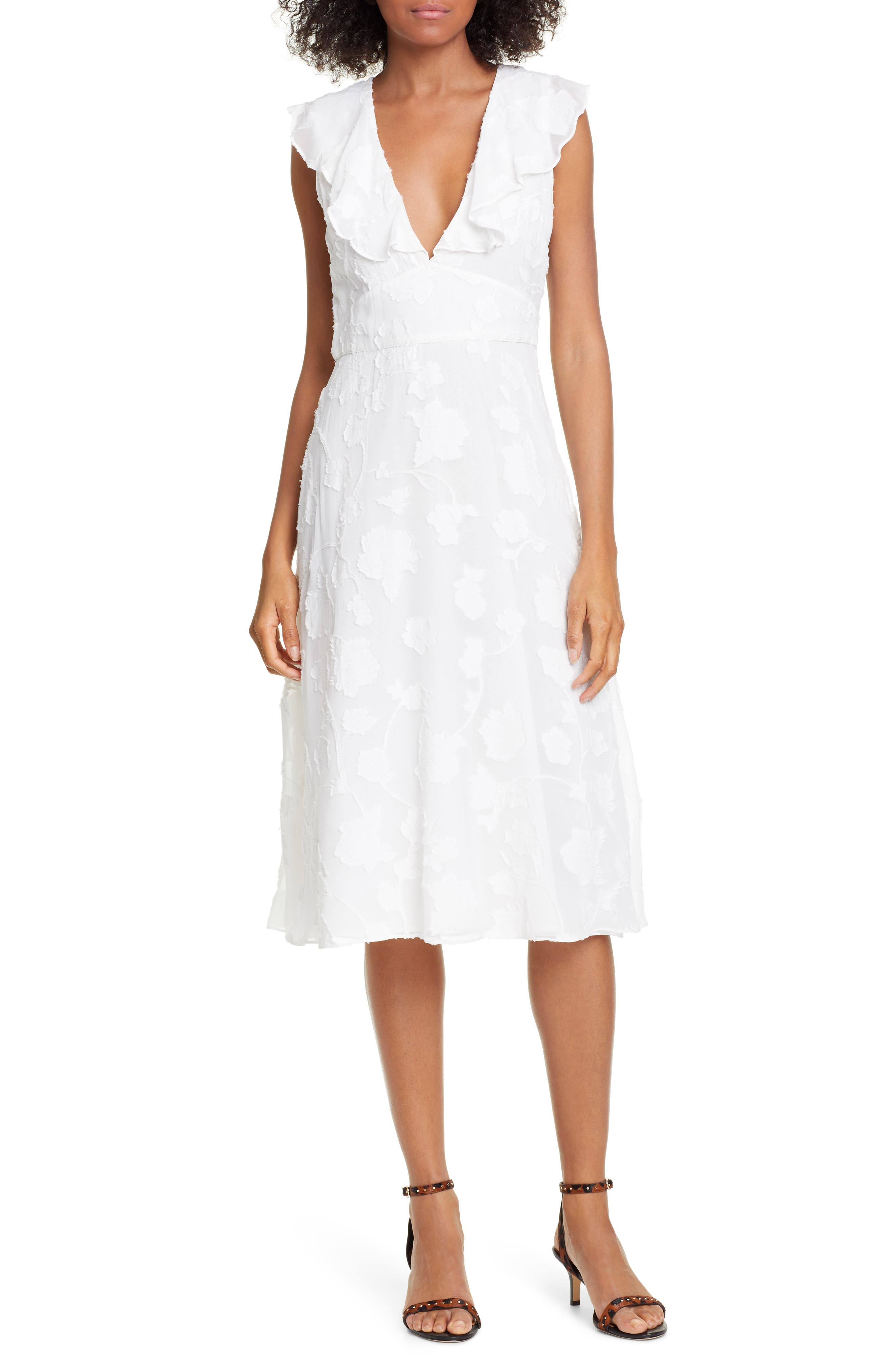 Joie Adella Burnout Dress, Ivory
