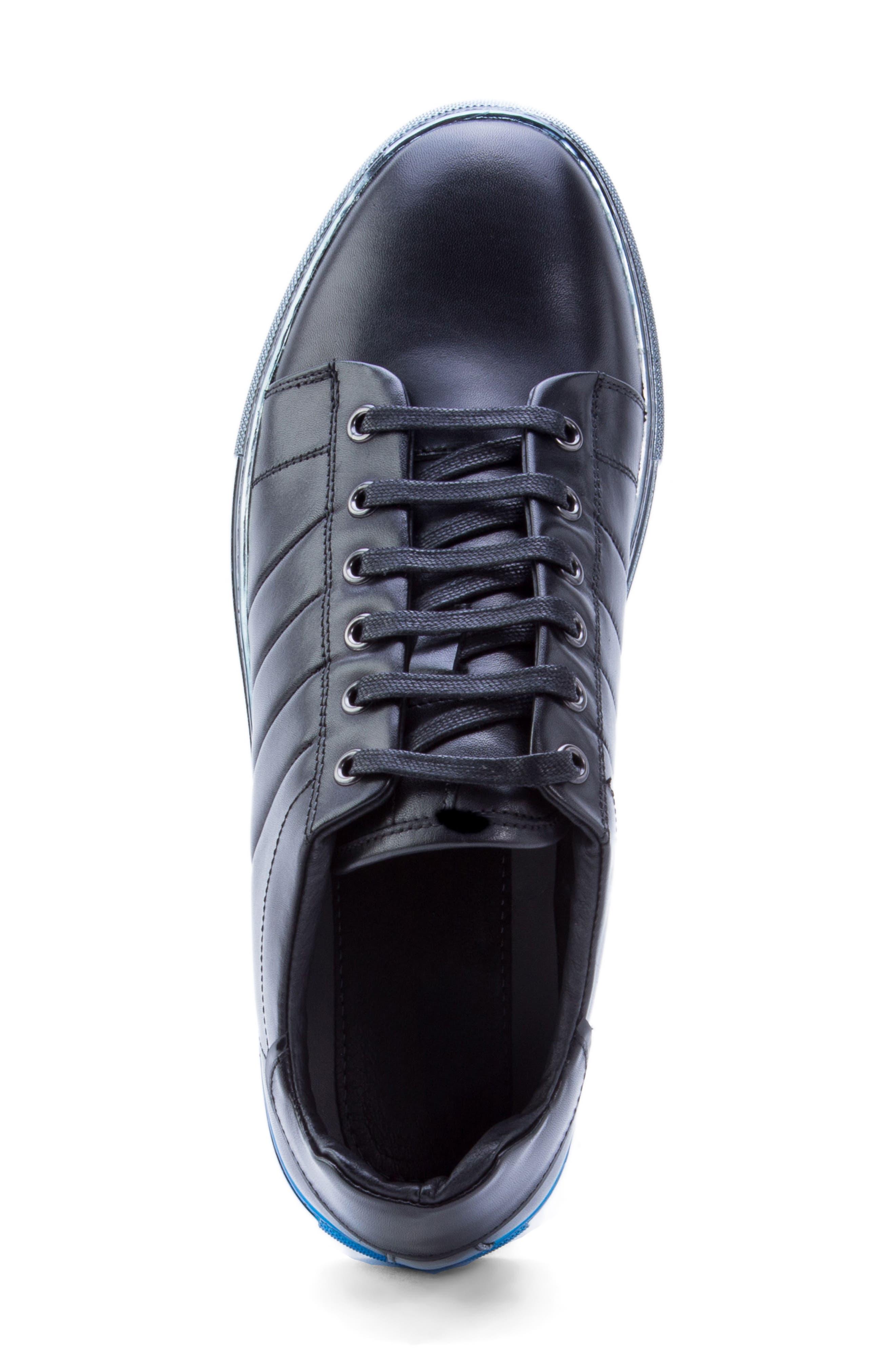 BADGLEY MISCHKA COLLECTION, Badgley Mischka Brando Sneaker, Alternate thumbnail 5, color, BLACK LEATHER