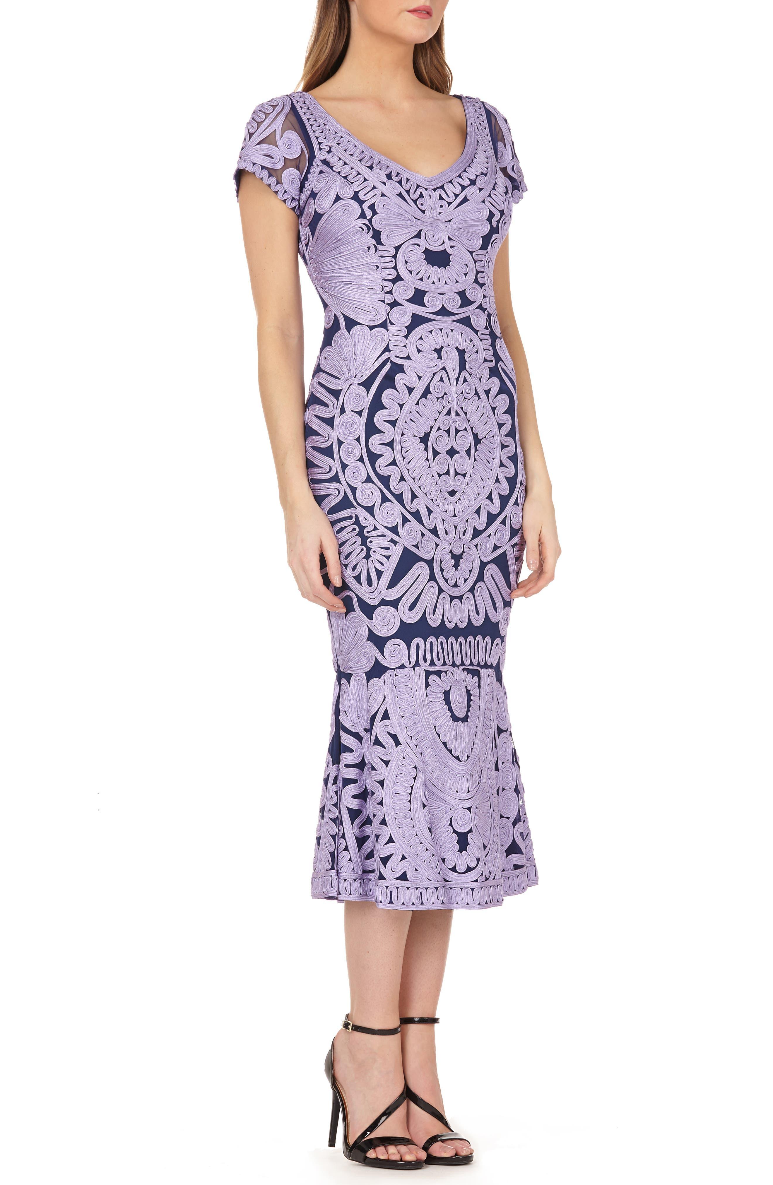 JS COLLECTIONS Soutache Trumpet Dress, Main, color, ORCHID/ NAVY