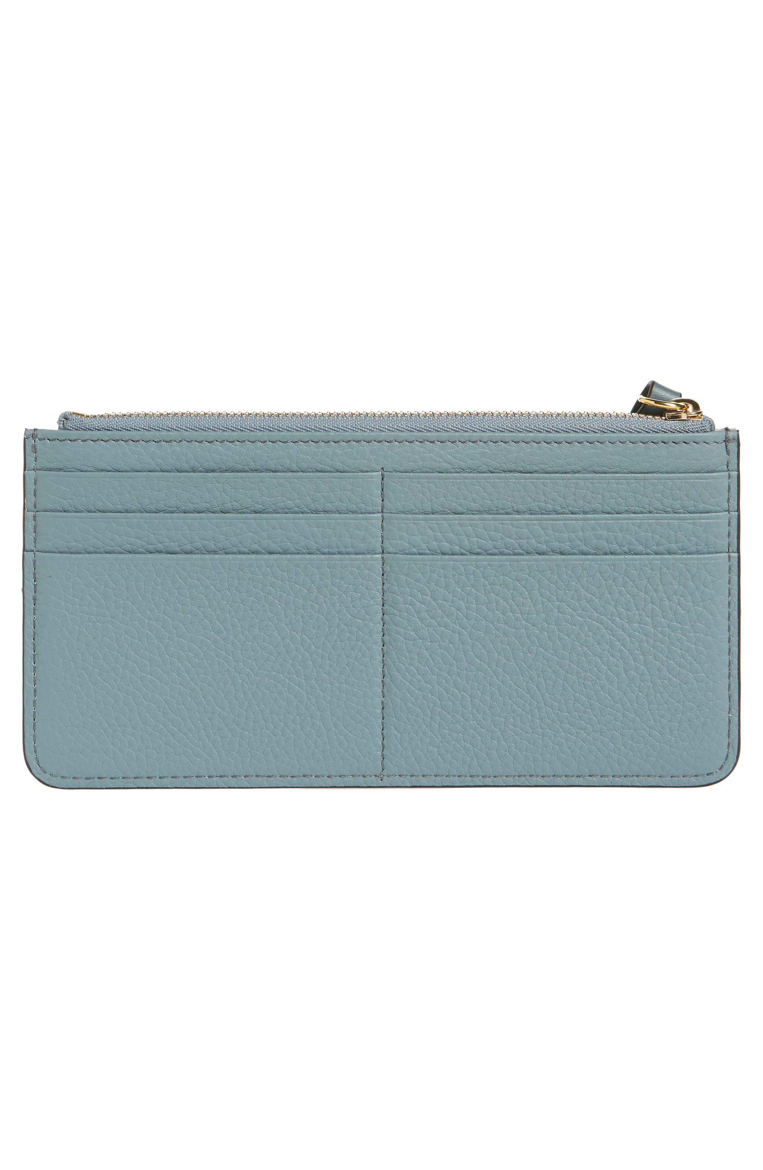 CHLOÉ, Zip Wallet Pouch, Alternate thumbnail 3, color, CLOUDY BLUE