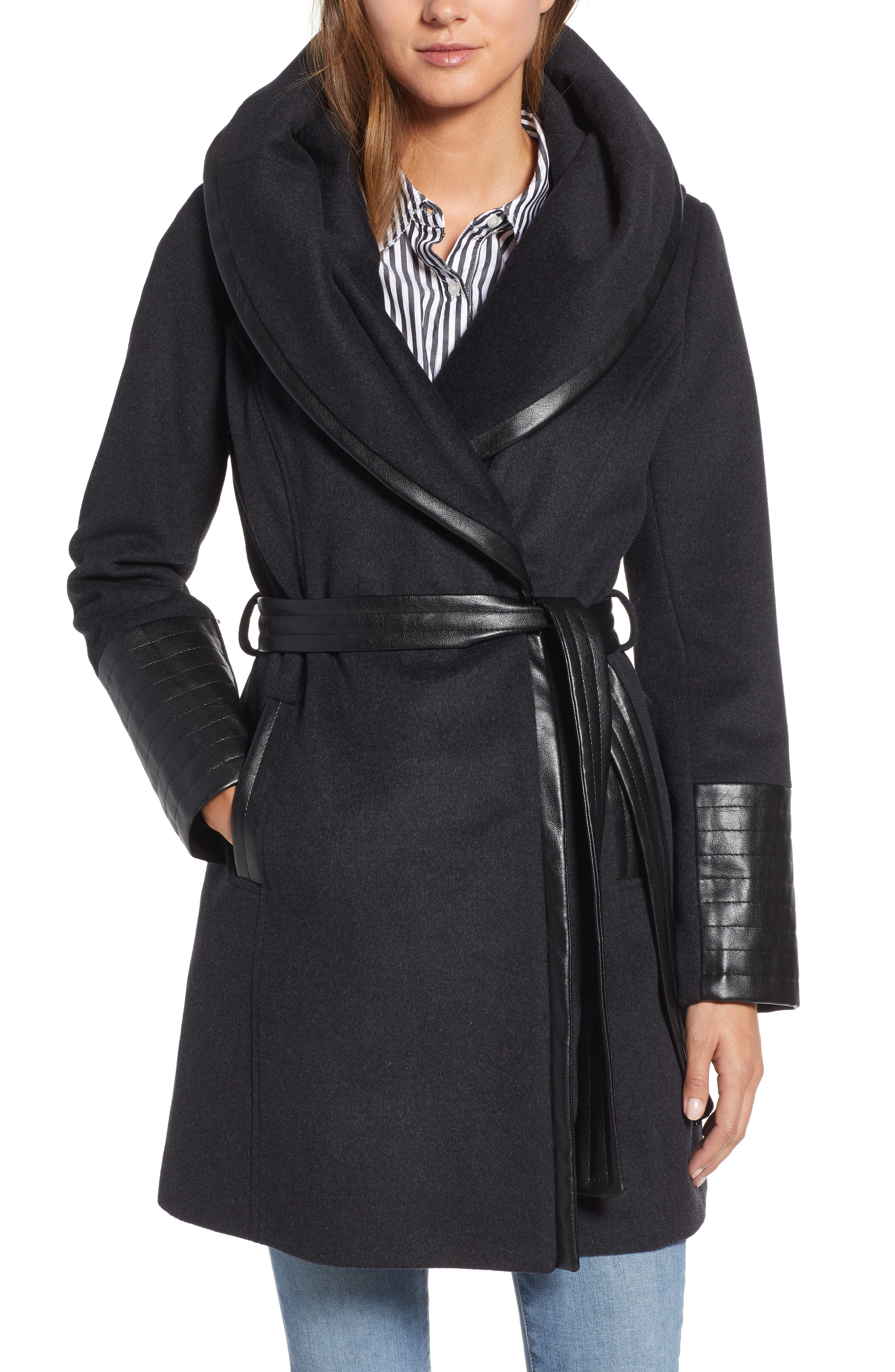 VIA SPIGA Wool Blend Coat, Main, color, CHARCOAL