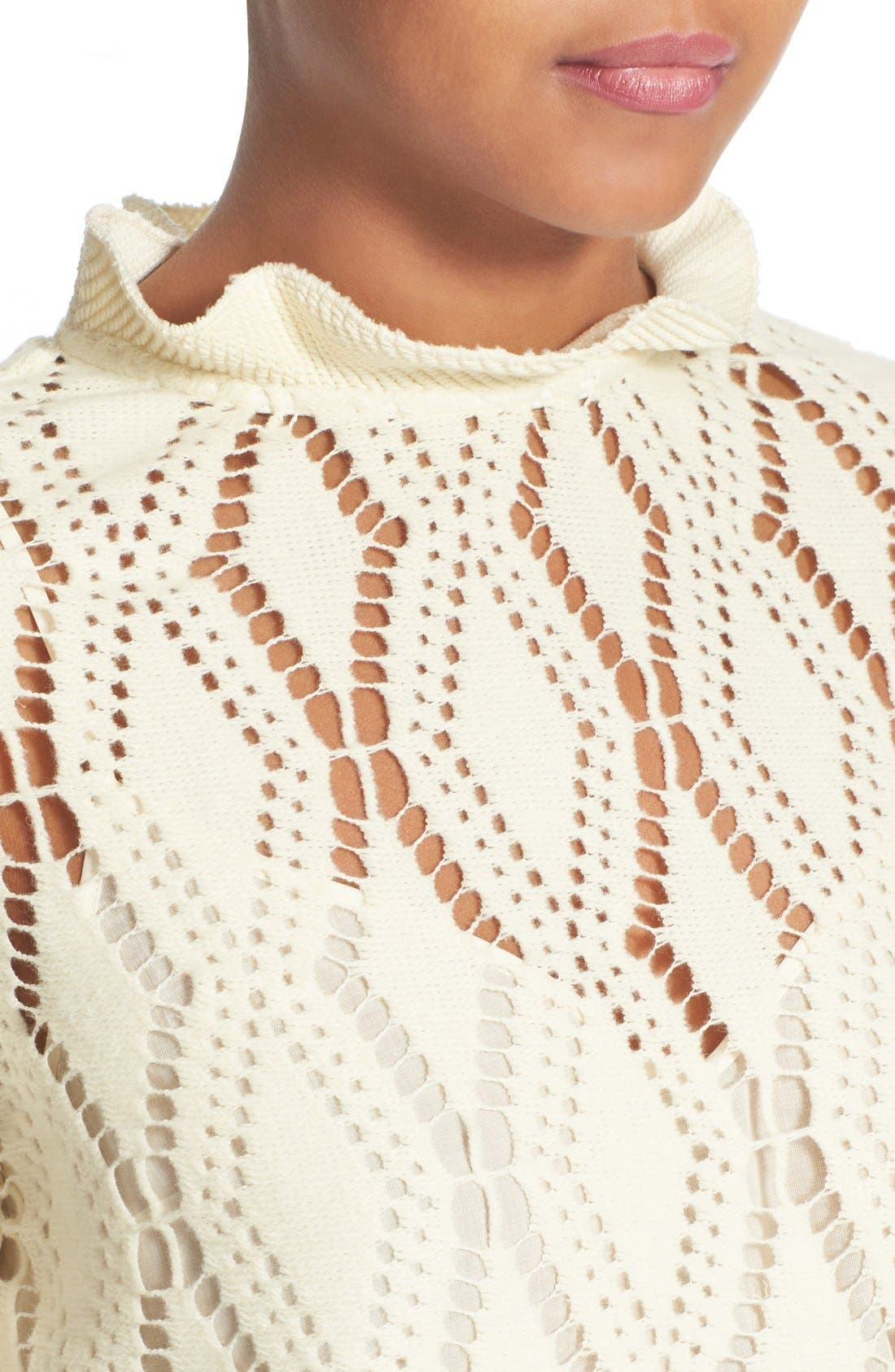 SEE BY CHLOÉ, Lace Top, Alternate thumbnail 5, color, 101