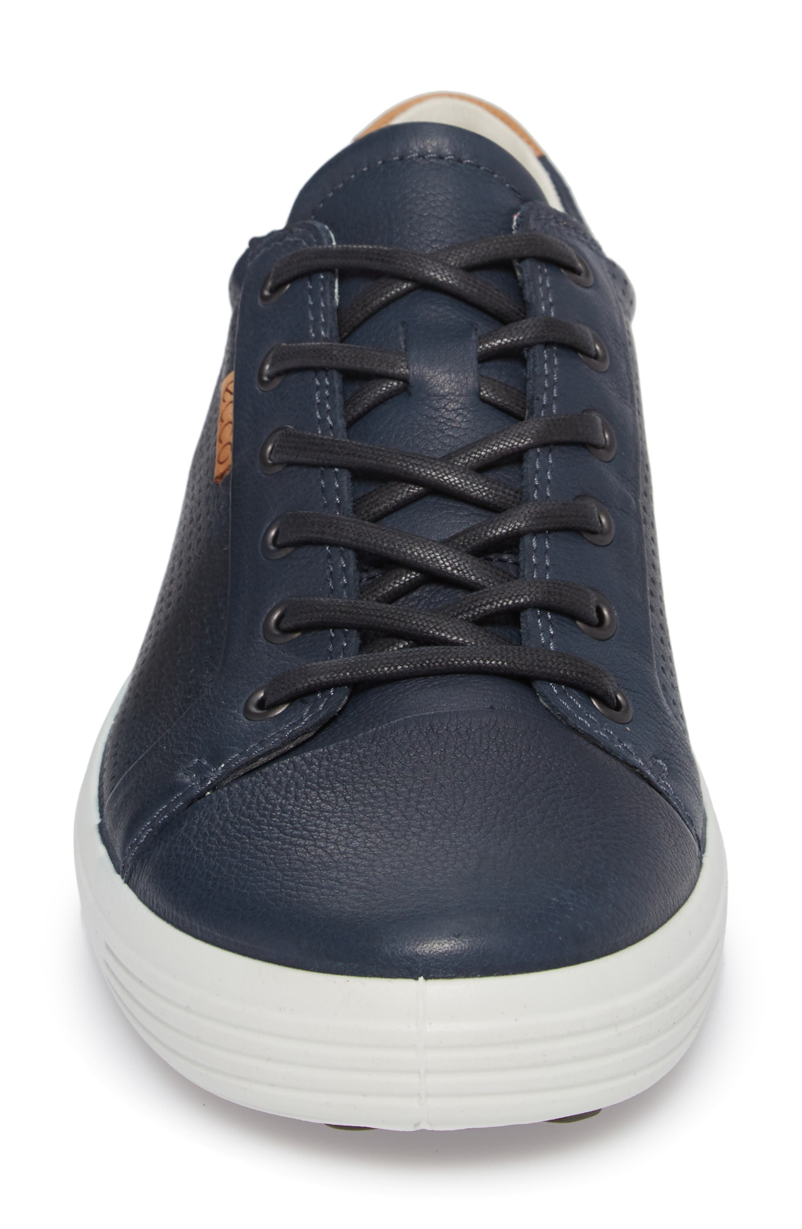 ECCO, Soft 7 Perf Sneaker, Alternate thumbnail 4, color, NAVY LEATHER