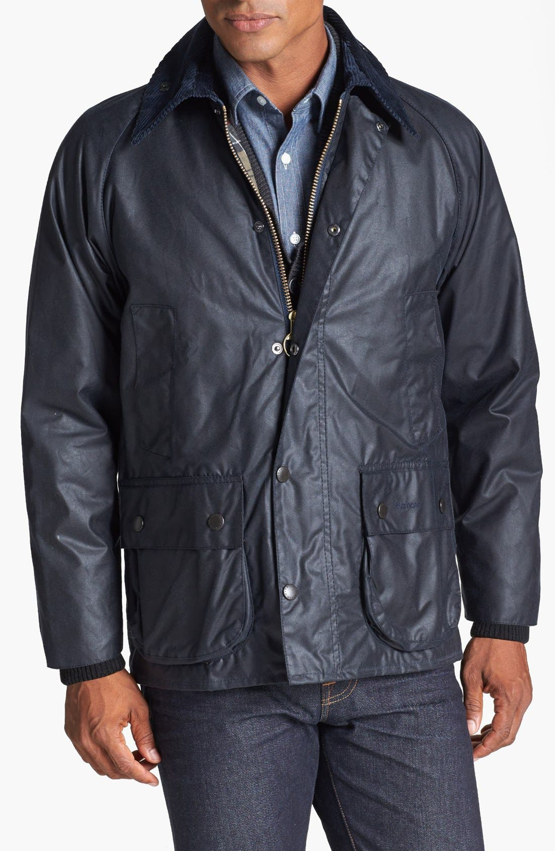 BARBOUR, 'Bedale' Regular Fit Waxed Cotton Jacket, Main thumbnail 1, color, NAVY