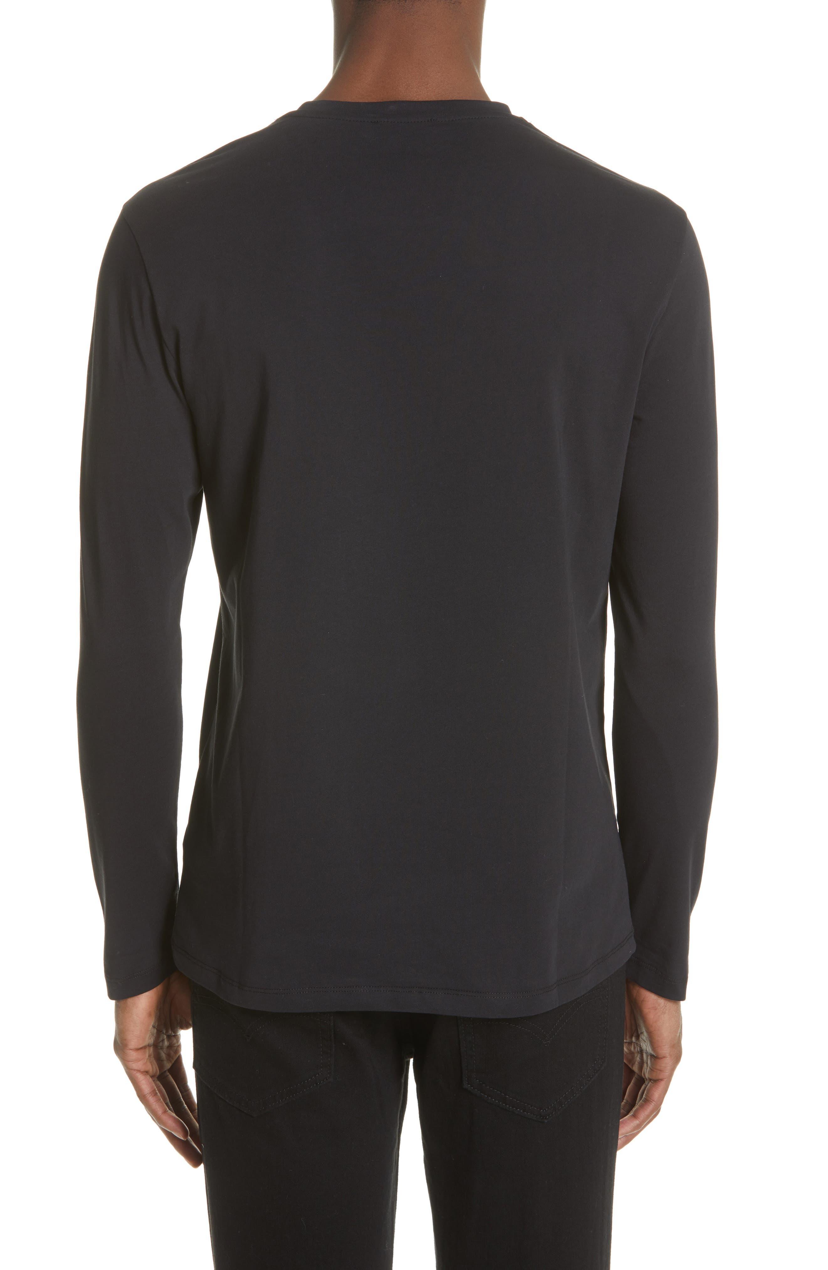 VERSACE COLLECTION, Medusa Long Sleeve T-Shirt, Alternate thumbnail 2, color, 001