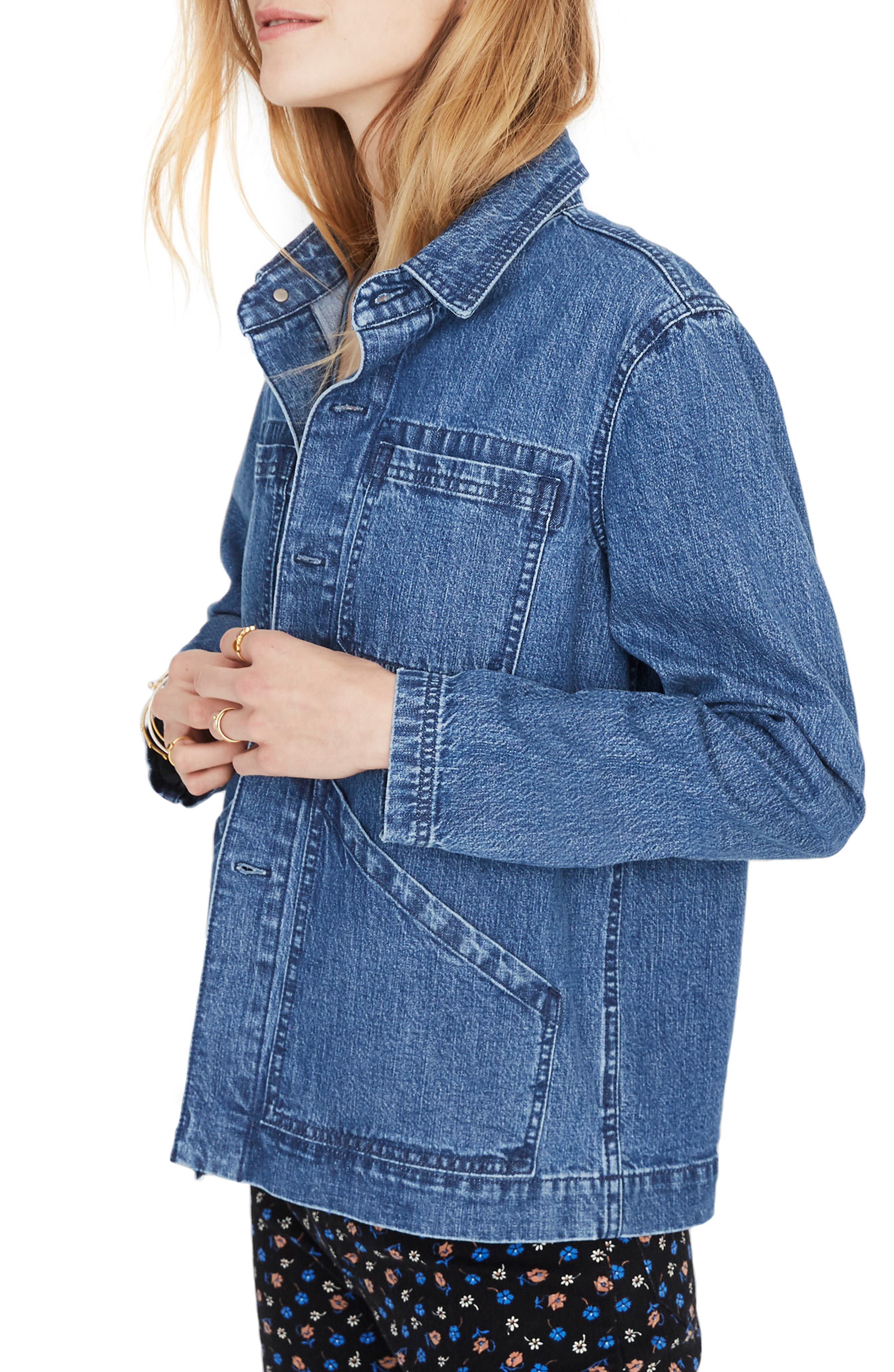 MADEWELL, Denim Patch Pocket Chore Coat, Alternate thumbnail 4, color, 400