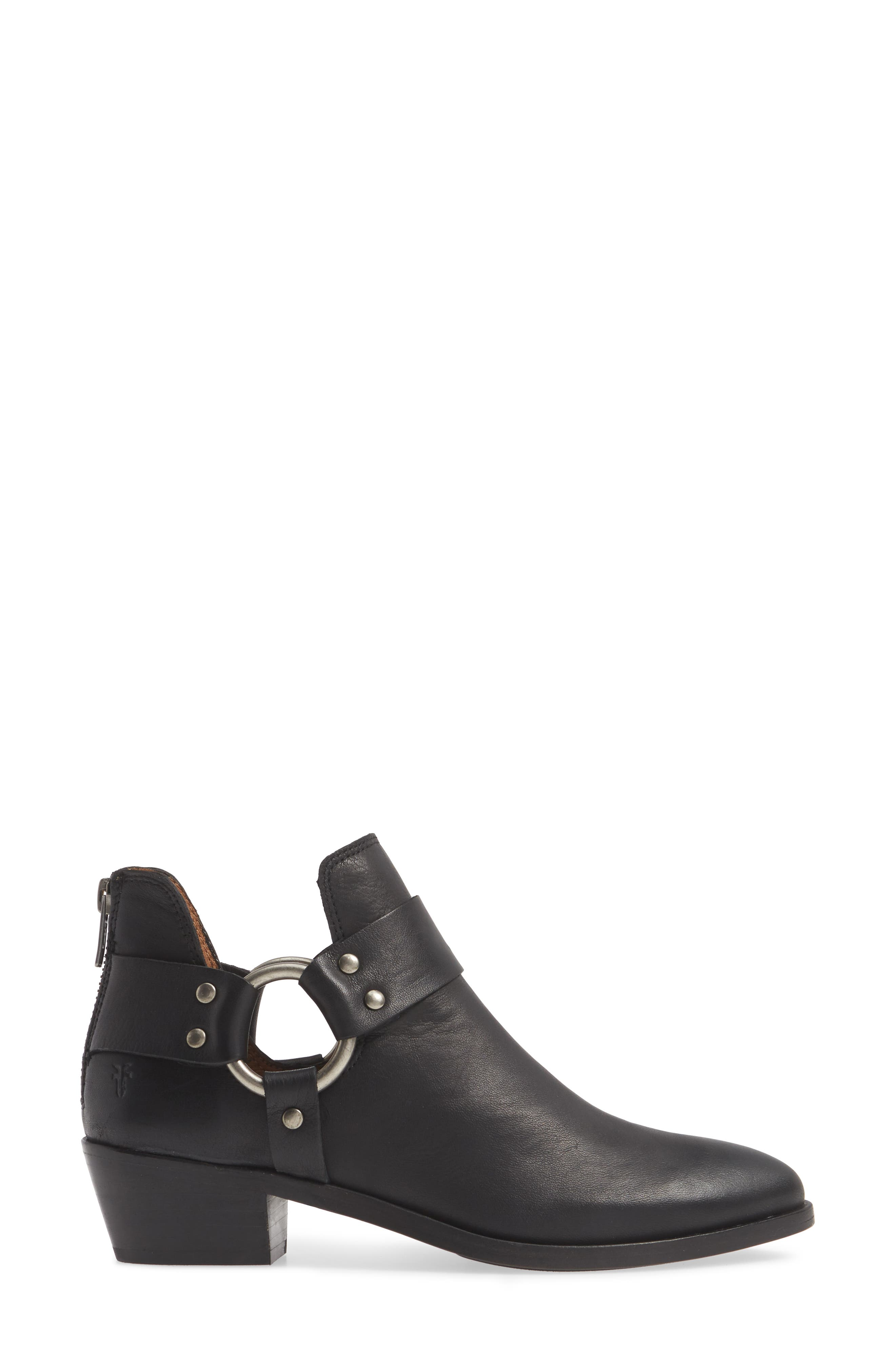 FRYE, Ray Low Harness Bootie, Alternate thumbnail 3, color, BLACK