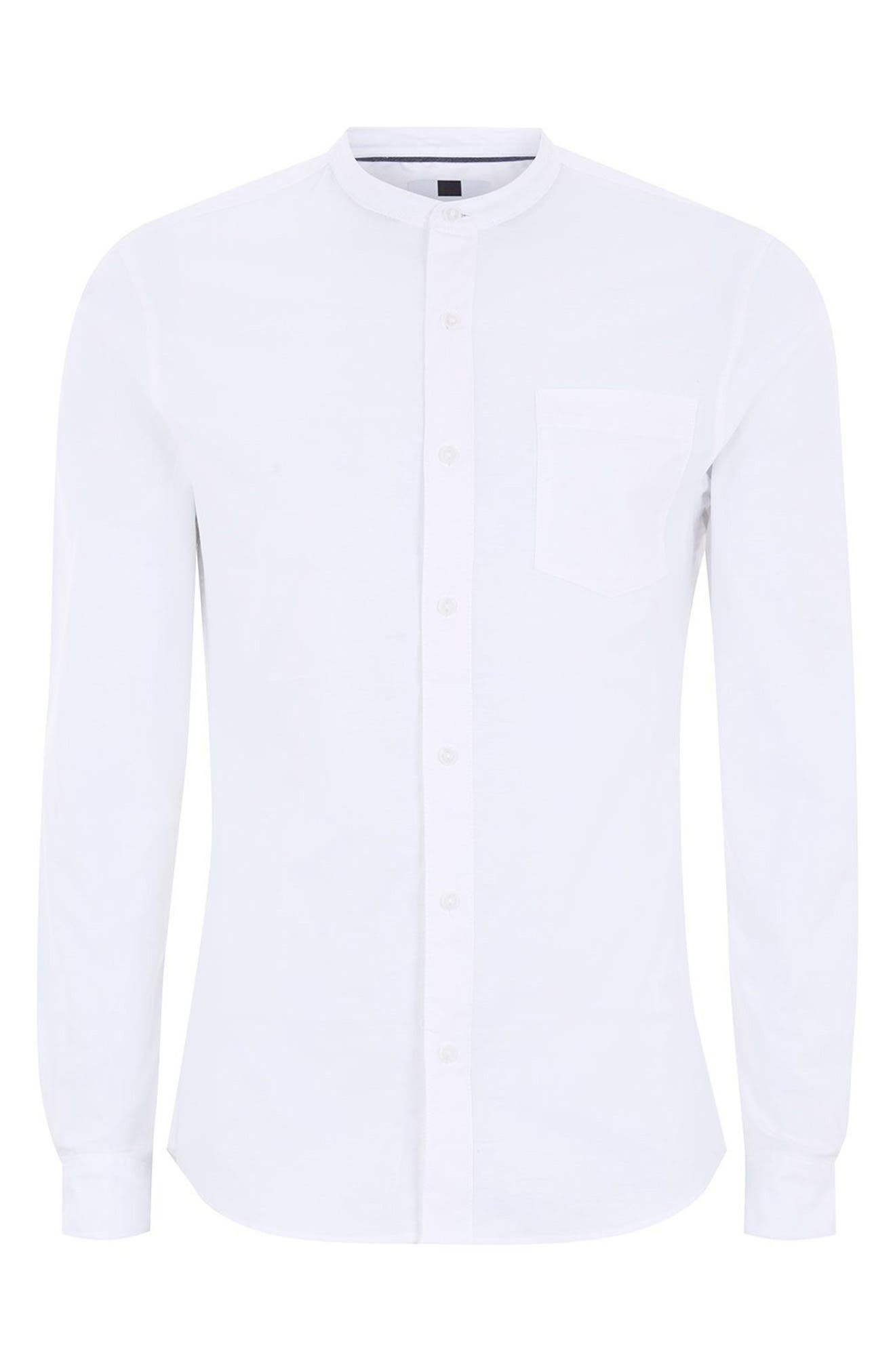 TOPMAN, Muscle Fit Band Collar Shirt, Alternate thumbnail 6, color, WHITE