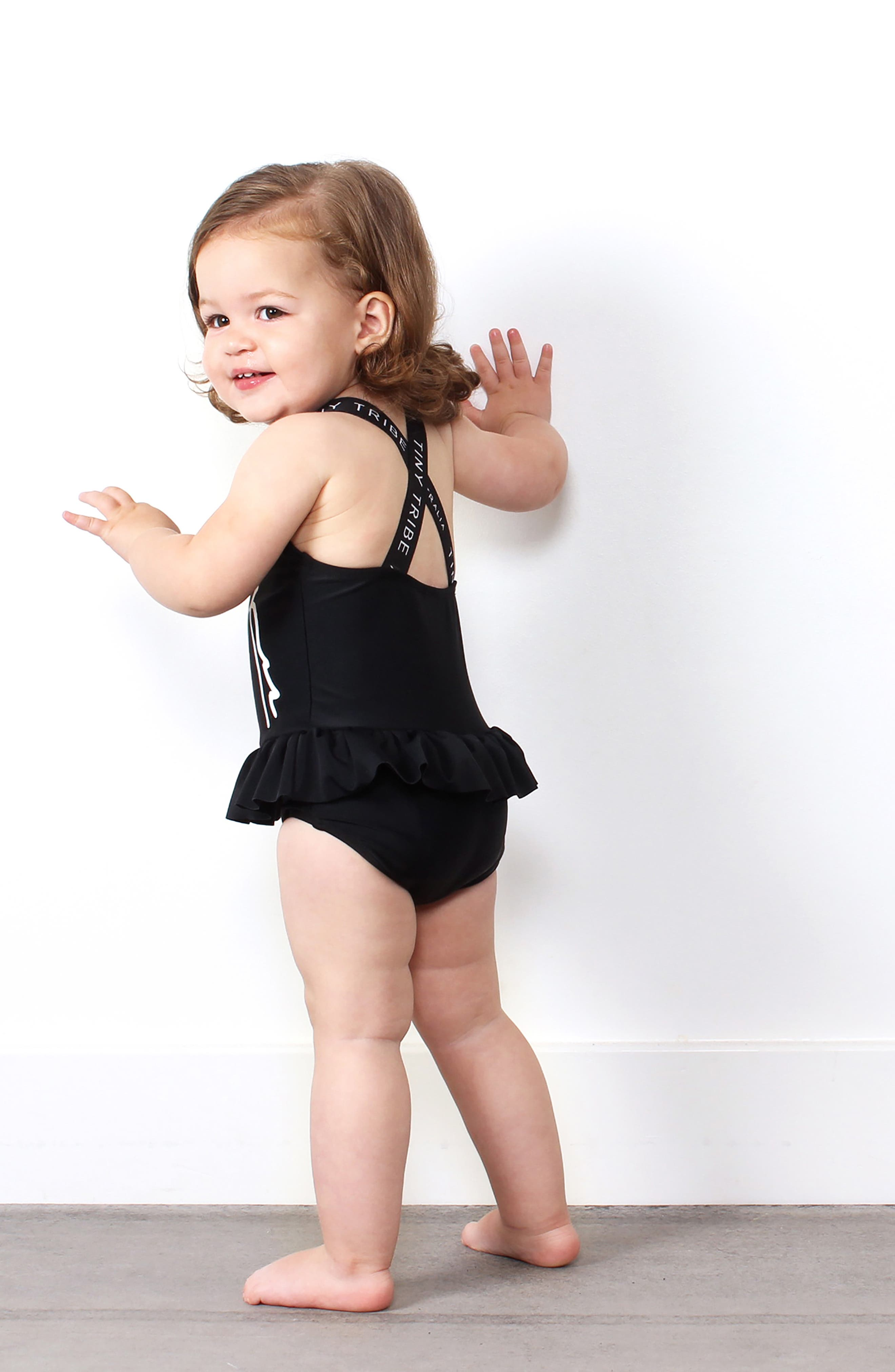 TINY TRIBE, Unicorn Skirted One-Piece Swimsuit, Alternate thumbnail 3, color, 001