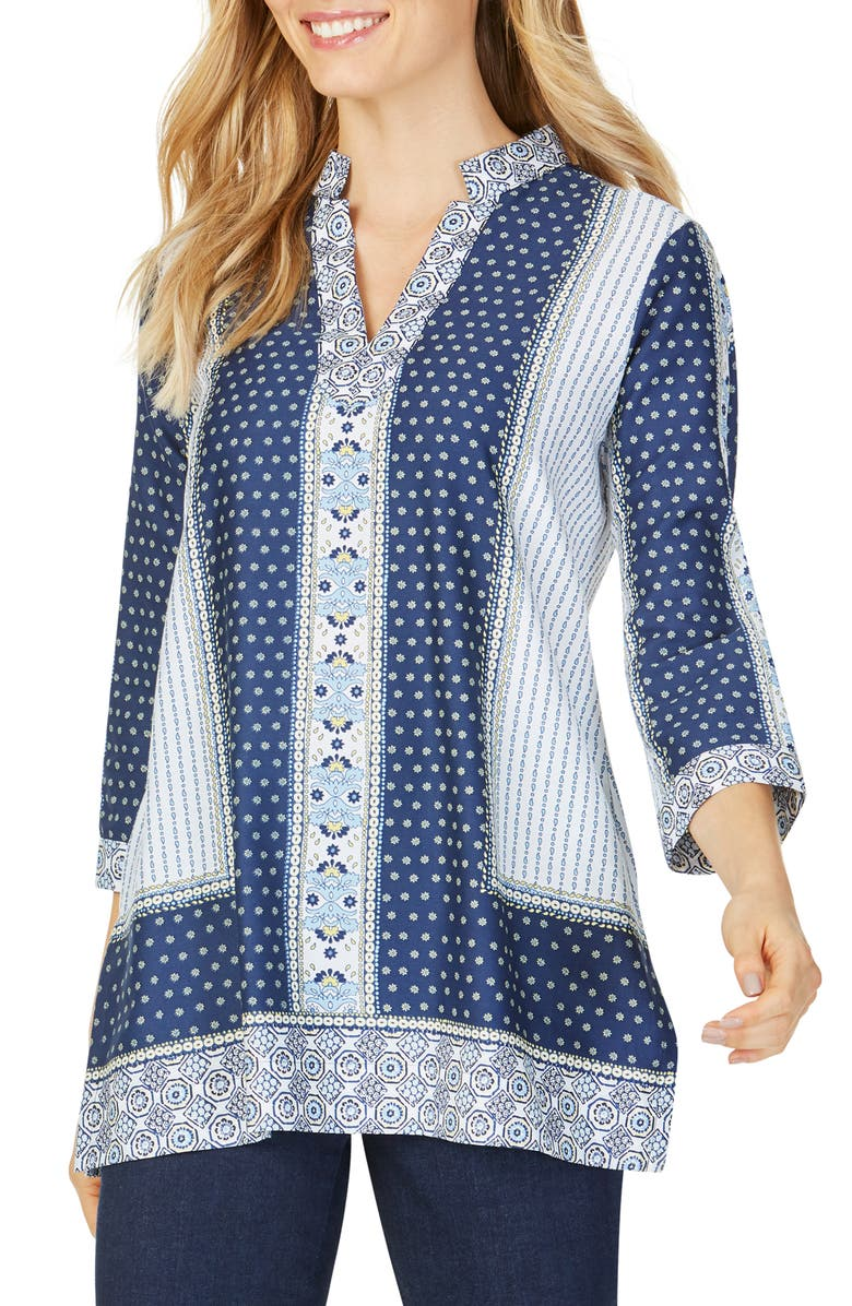 Foxcroft Tops ANGELICA SCARF PRINT COTTON TUNIC TOP