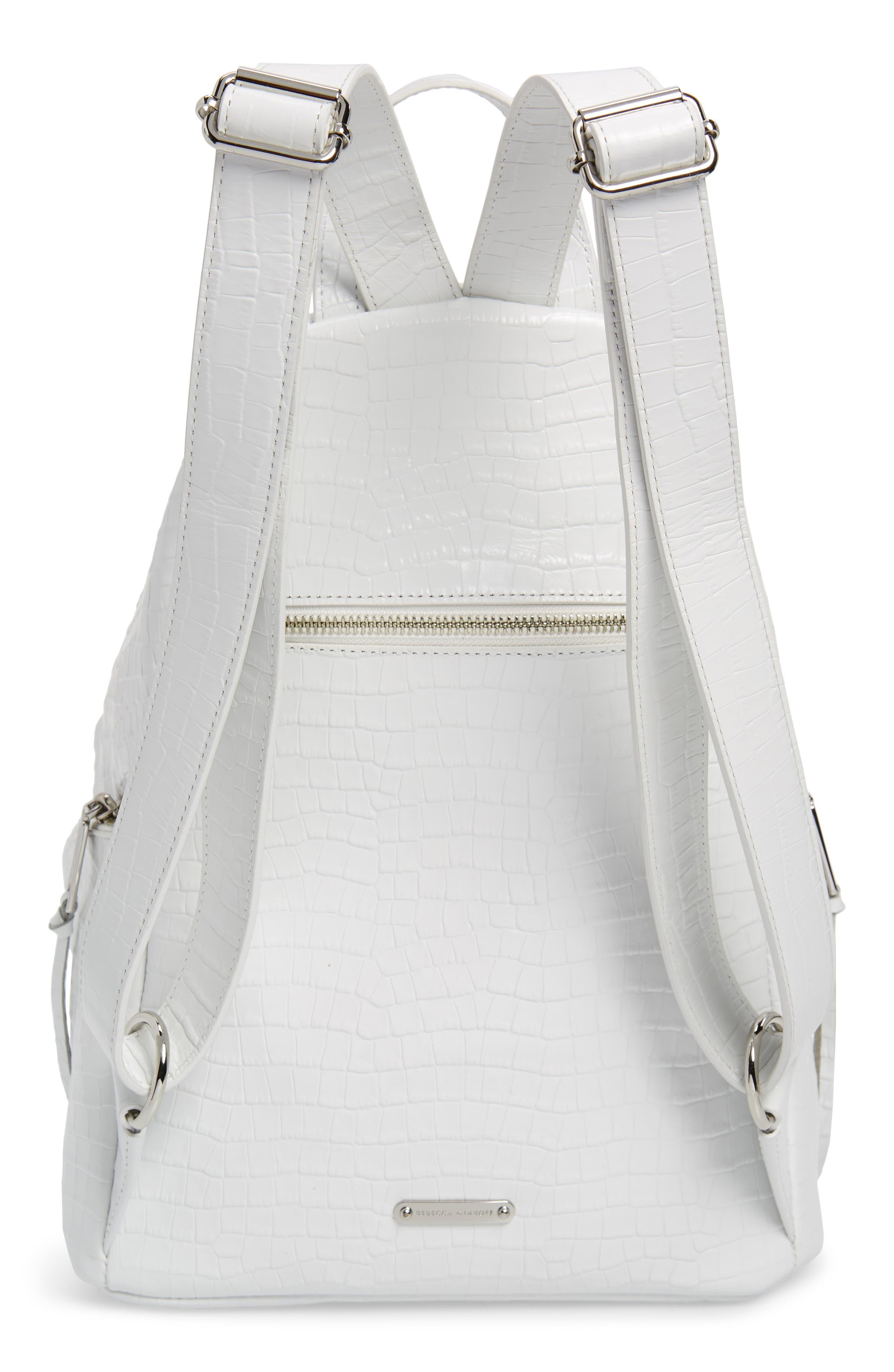 REBECCA MINKOFF, Julian Croc Embossed Leather Backpack, Alternate thumbnail 3, color, OPTIC WHITE