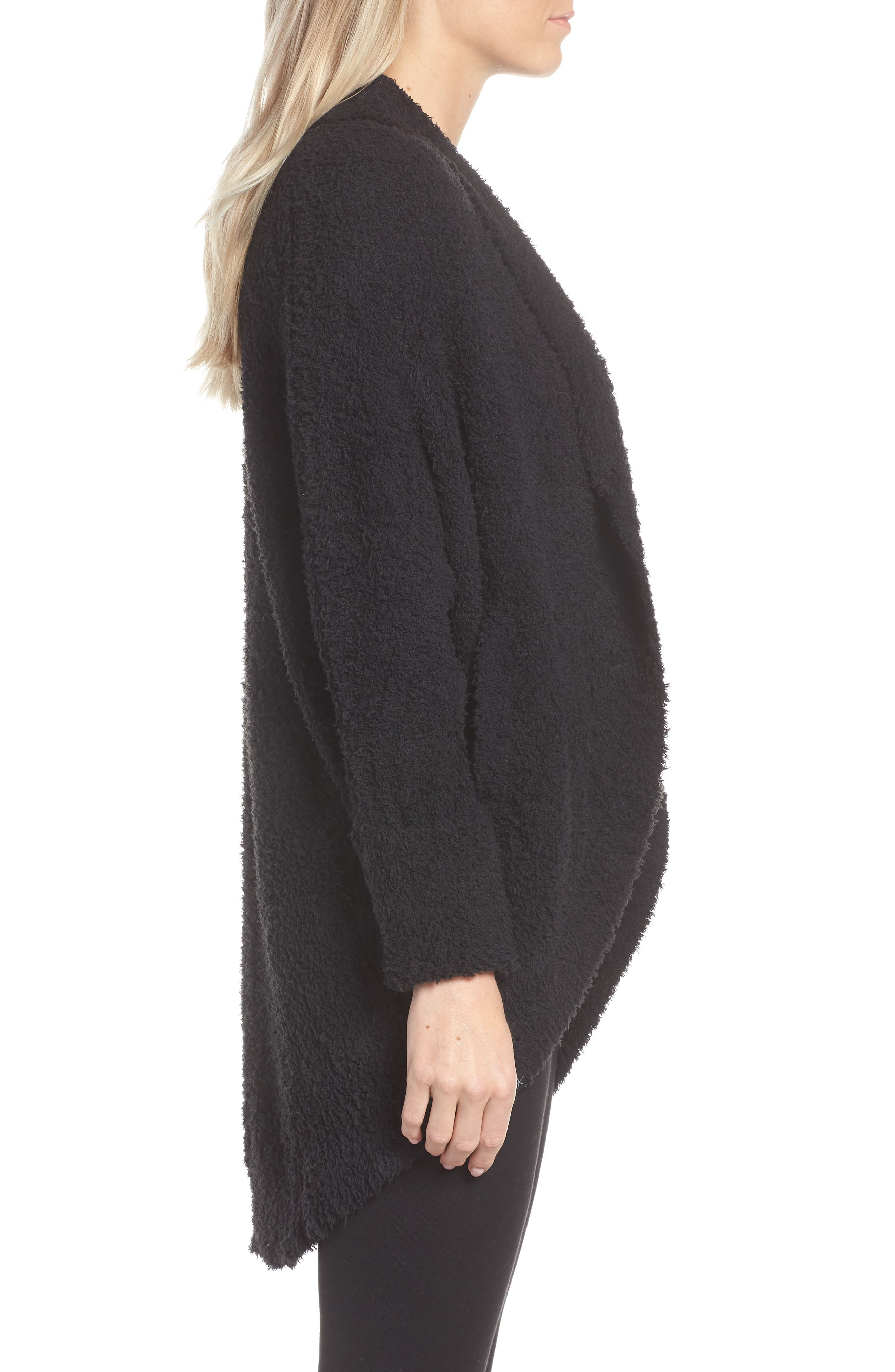 BAREFOOT DREAMS<SUP>®</SUP>, CozyChic<sup>®</sup> Cocoon Cardigan, Alternate thumbnail 3, color, BLACK