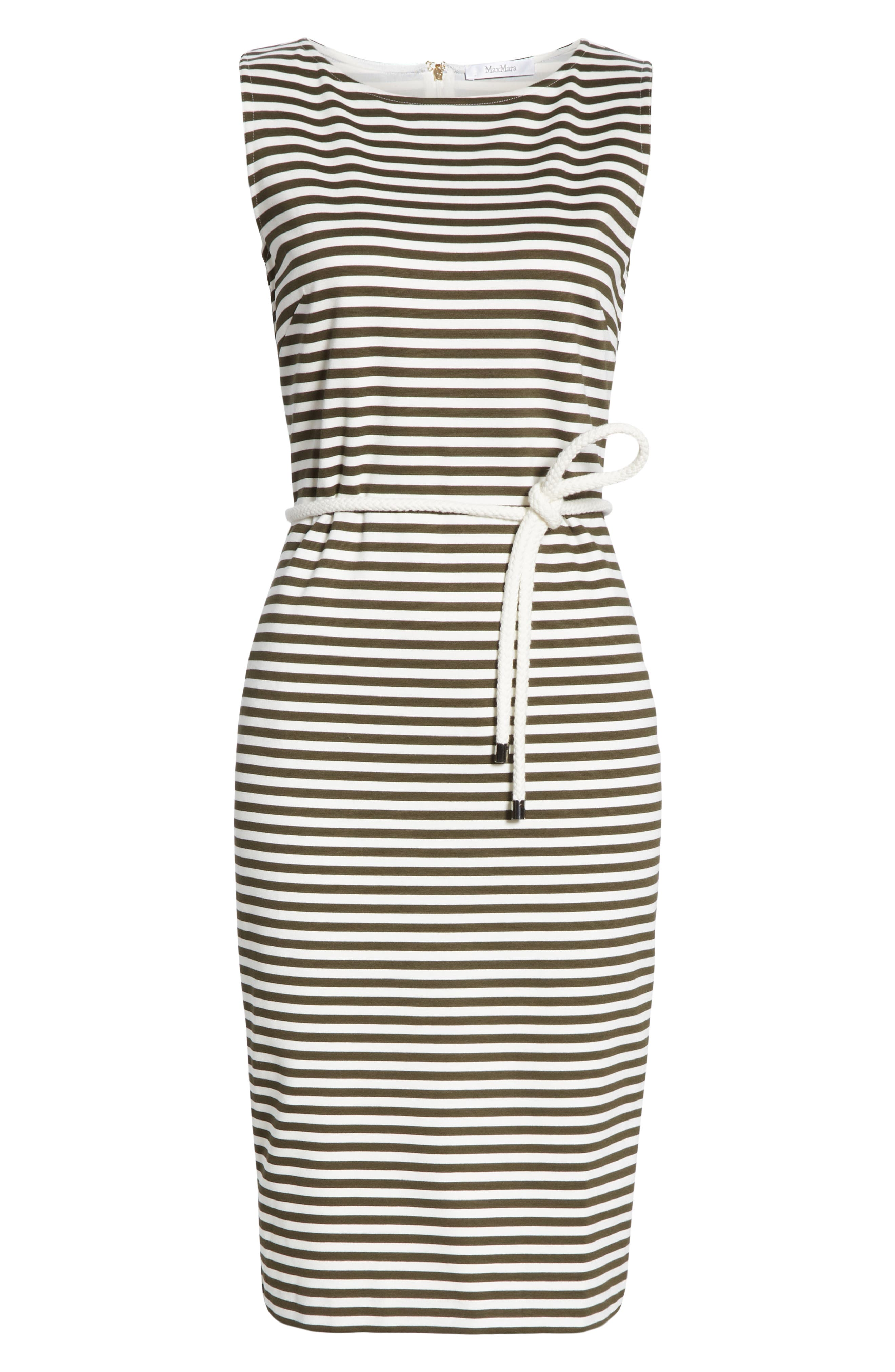 MAX MARA, Comica Stripe Dress, Alternate thumbnail 7, color, KAKI