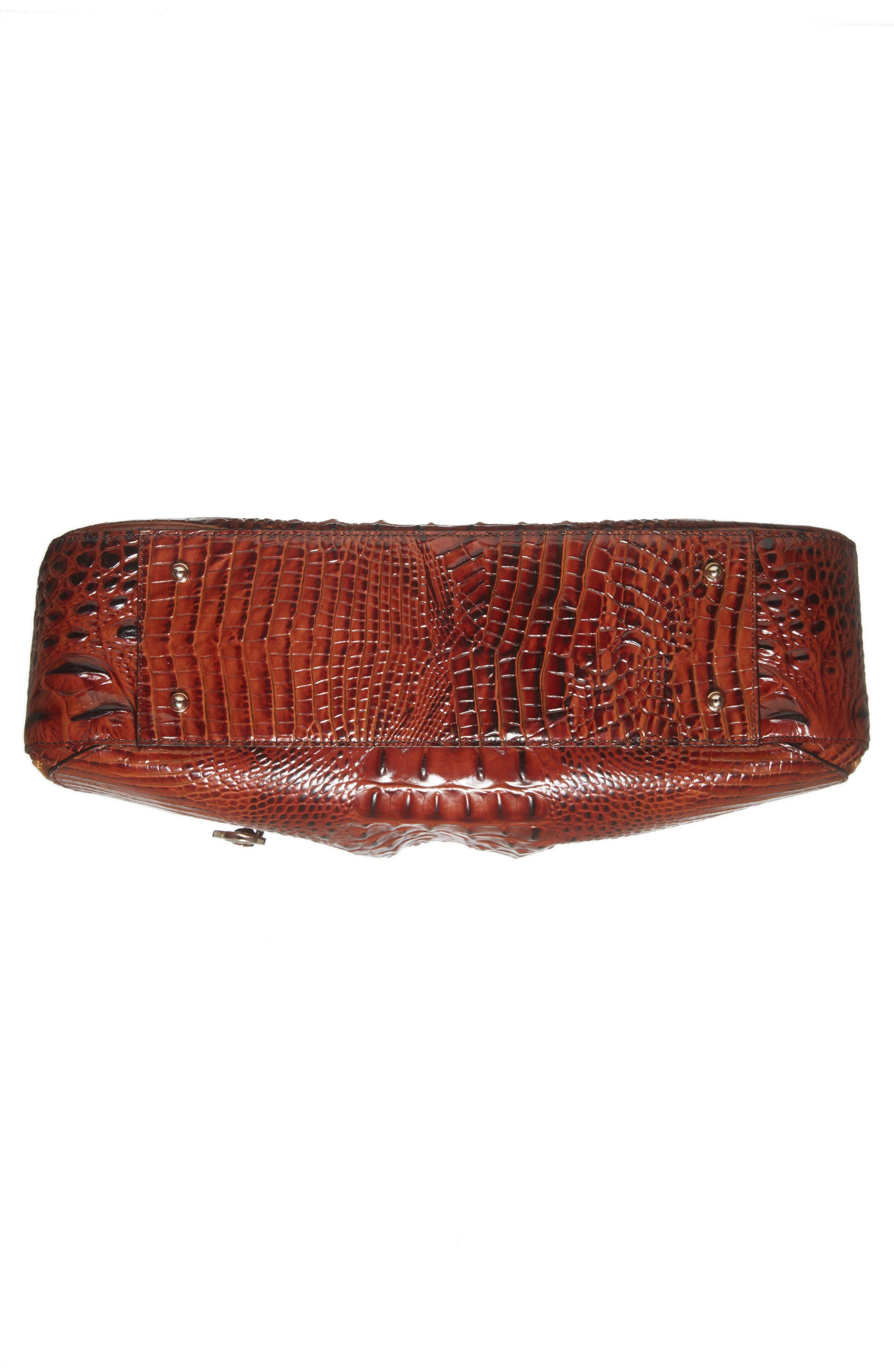 BRAHMIN, Melbourne - Adina Croc Embossed Leather Satchel, Alternate thumbnail 6, color, PECAN