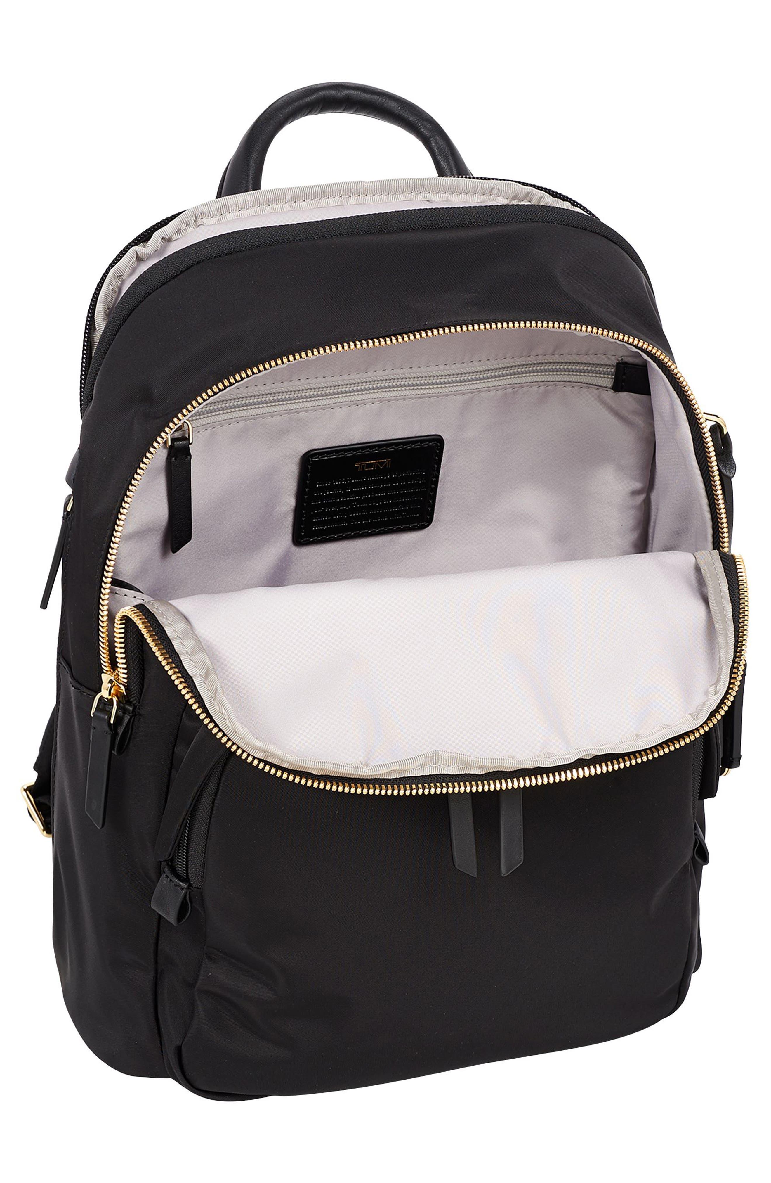 TUMI, Voyageur Dori Nylon Backpack, Alternate thumbnail 4, color, BLACK