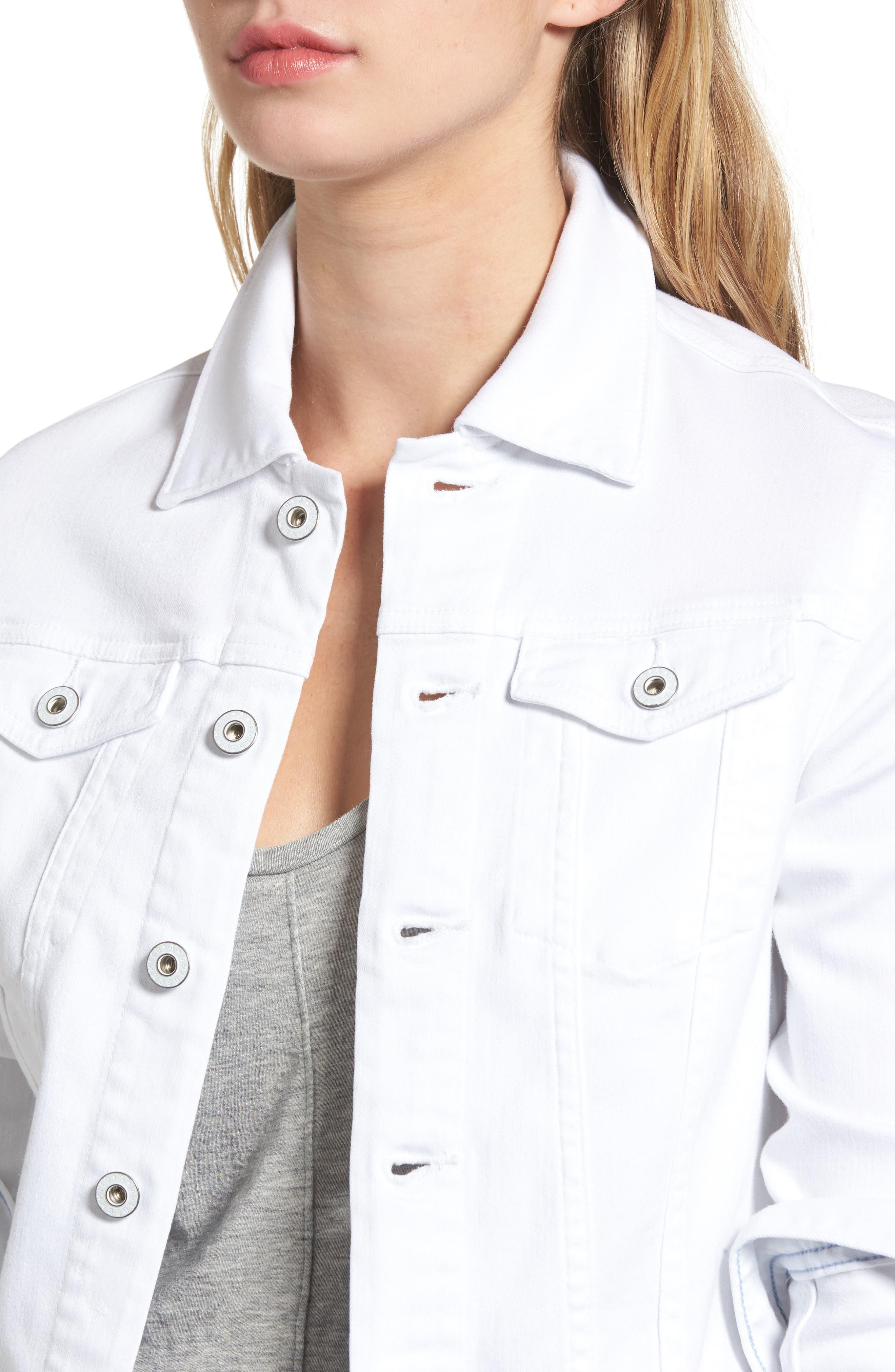 AG, 'Robyn' Denim Jacket, Alternate thumbnail 5, color, WHITE