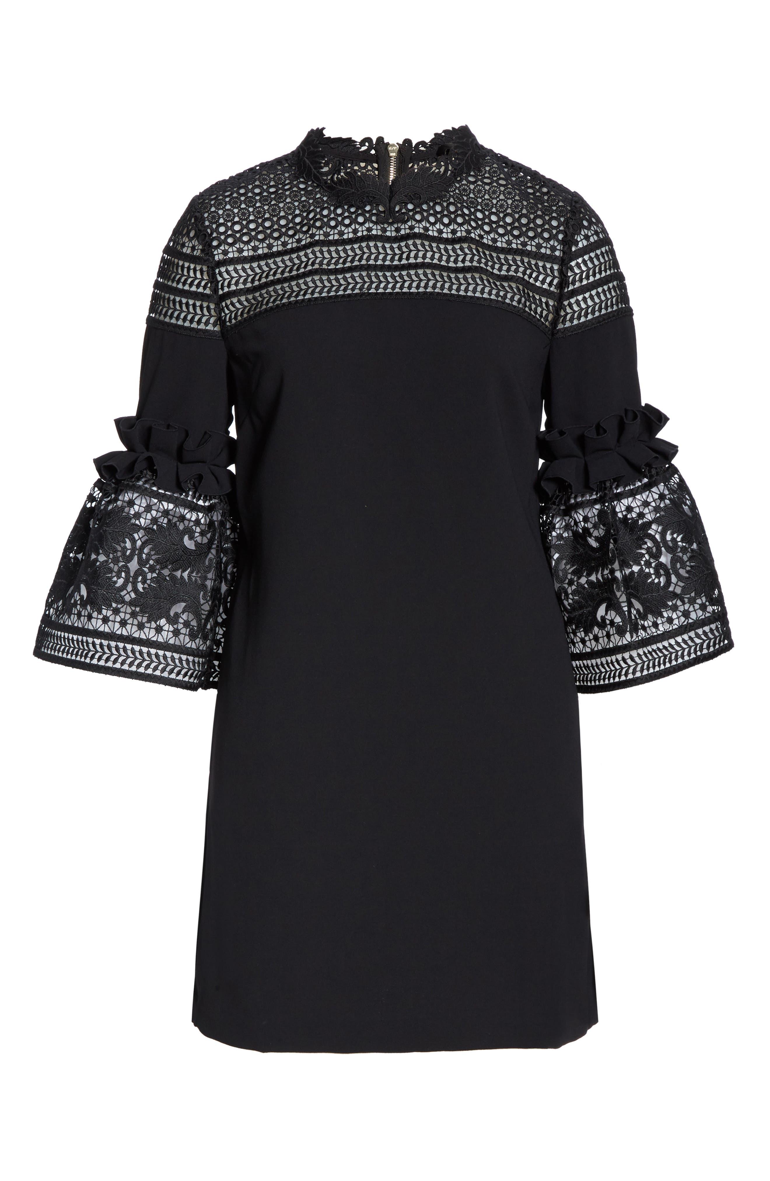 TED BAKER LONDON, Lace Panel Bell Sleeve Tunic Dress, Alternate thumbnail 7, color, BLACK