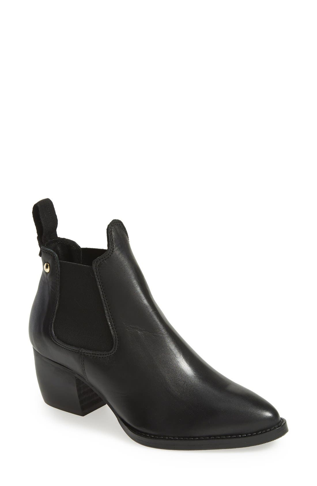 TOPSHOP, 'Margot' Leather Ankle Bootie, Main thumbnail 1, color, 001