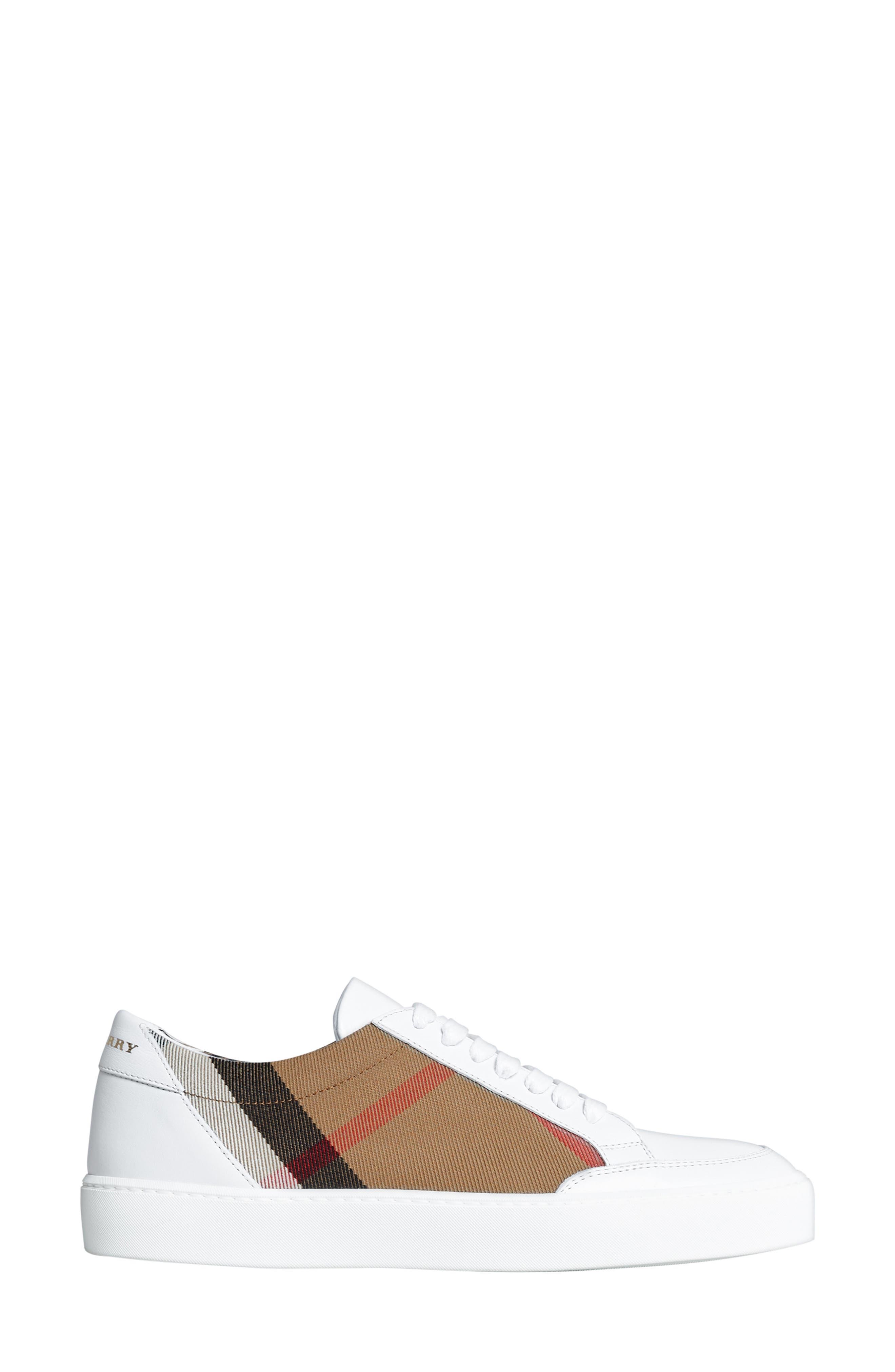 BURBERRY, Salmond Sneaker, Alternate thumbnail 3, color, WHITE